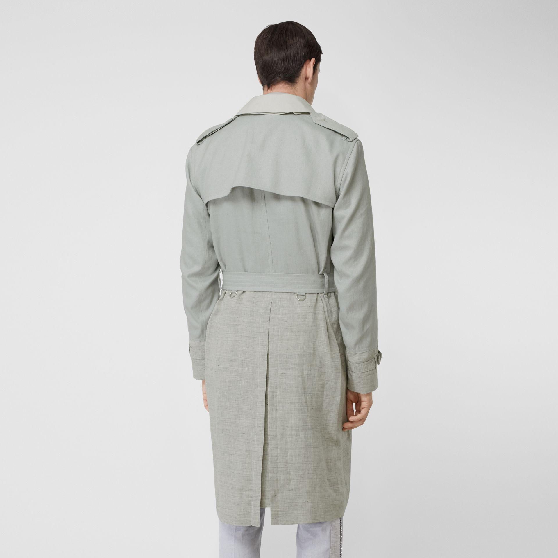 Panelled Linen Trench Coat in Light Pebble Grey - Men | Burberry - gallery image 2