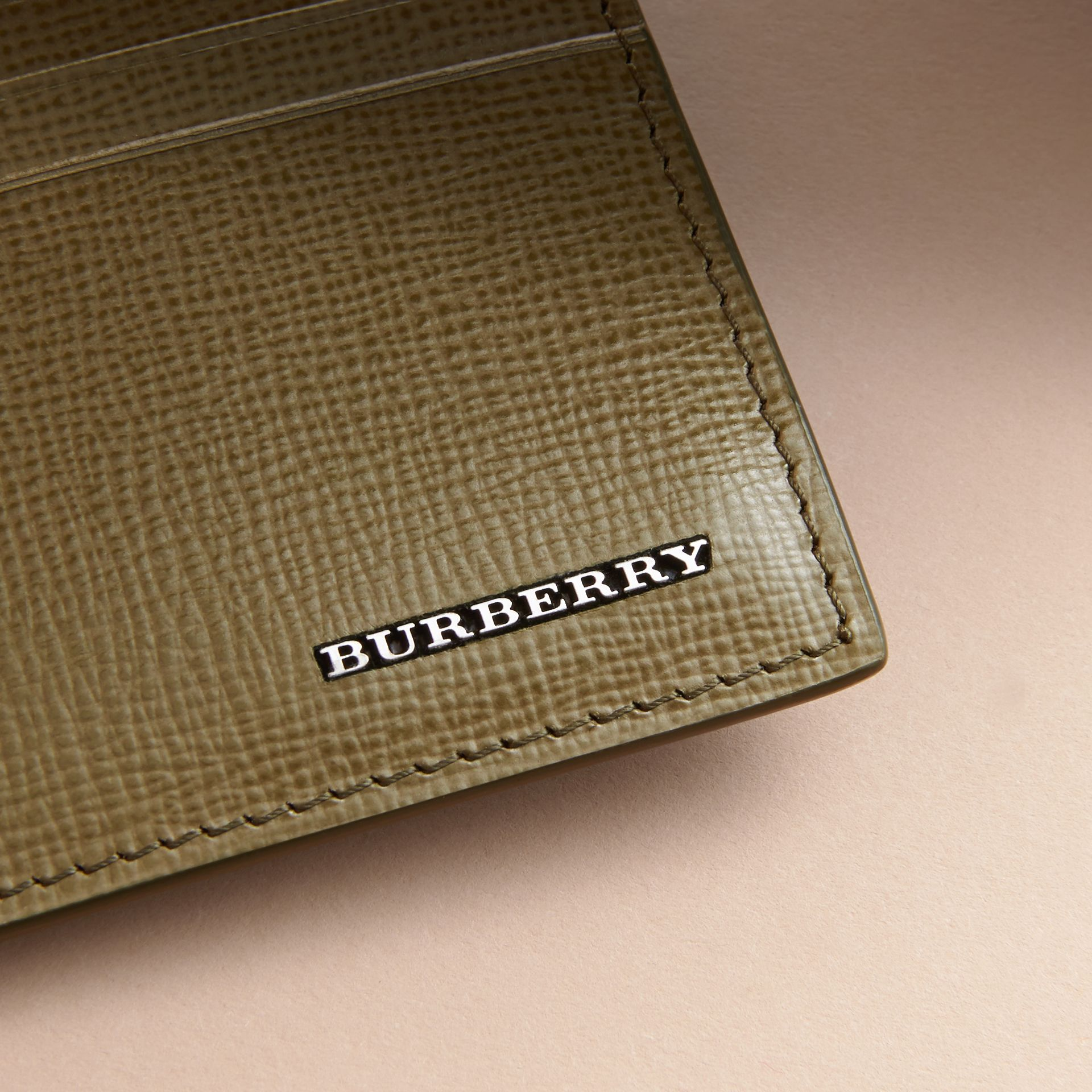 London Leather Card Case in Olive Green | Burberry Canada - gallery image 4