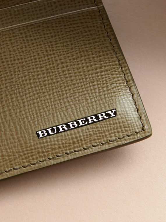 London Leather Card Case in Olive Green | Burberry Australia - cell image 3