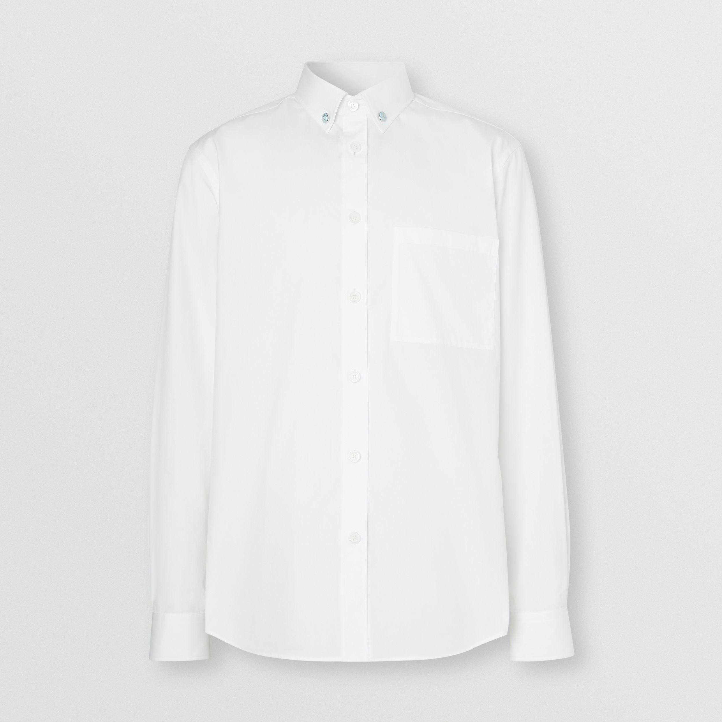 Slim Fit Stretch Cotton Poplin Shirt in White - Men | Burberry - 4