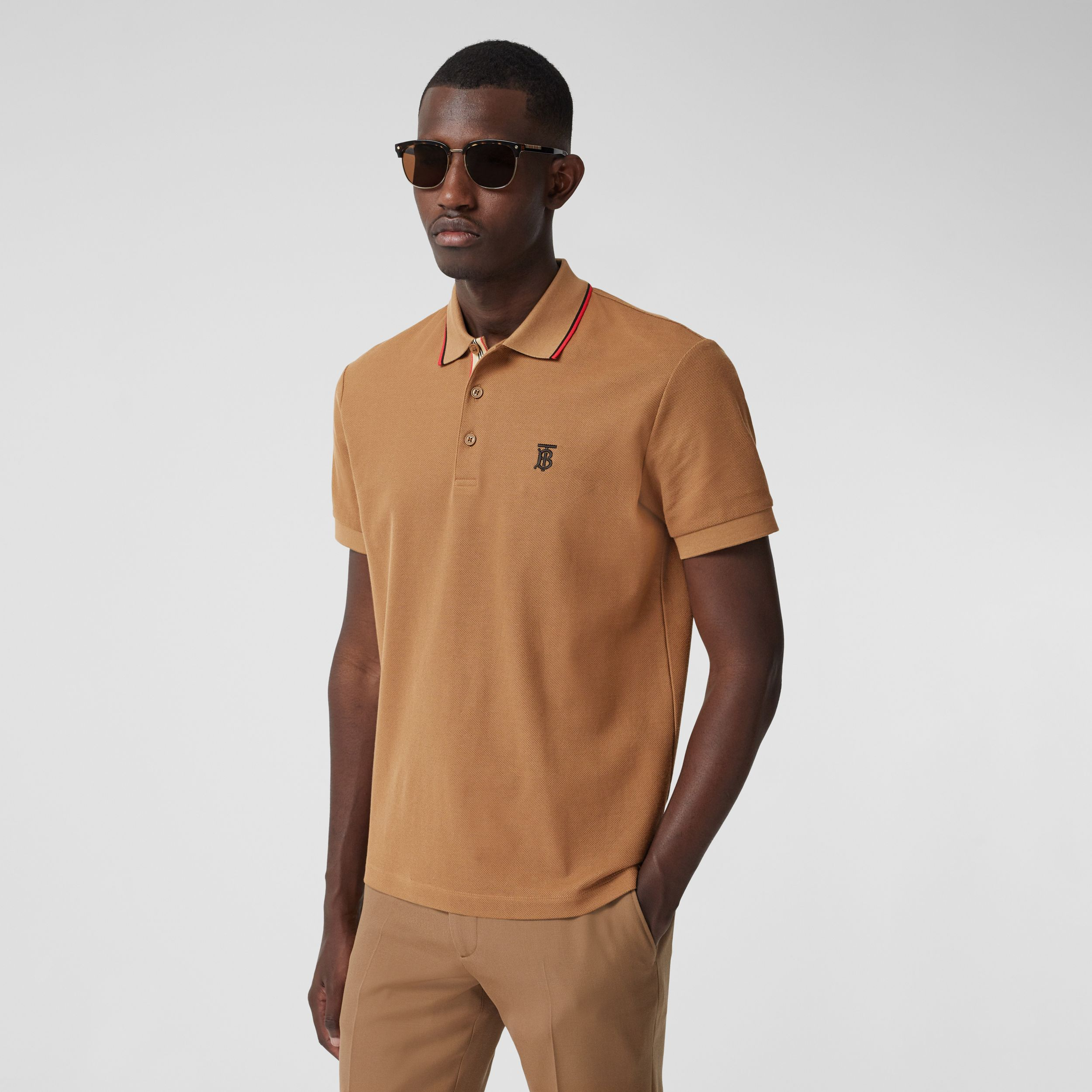 Monogram Motif Cotton Piqué Polo Shirt in Warm Brown - Men | Burberry - 1