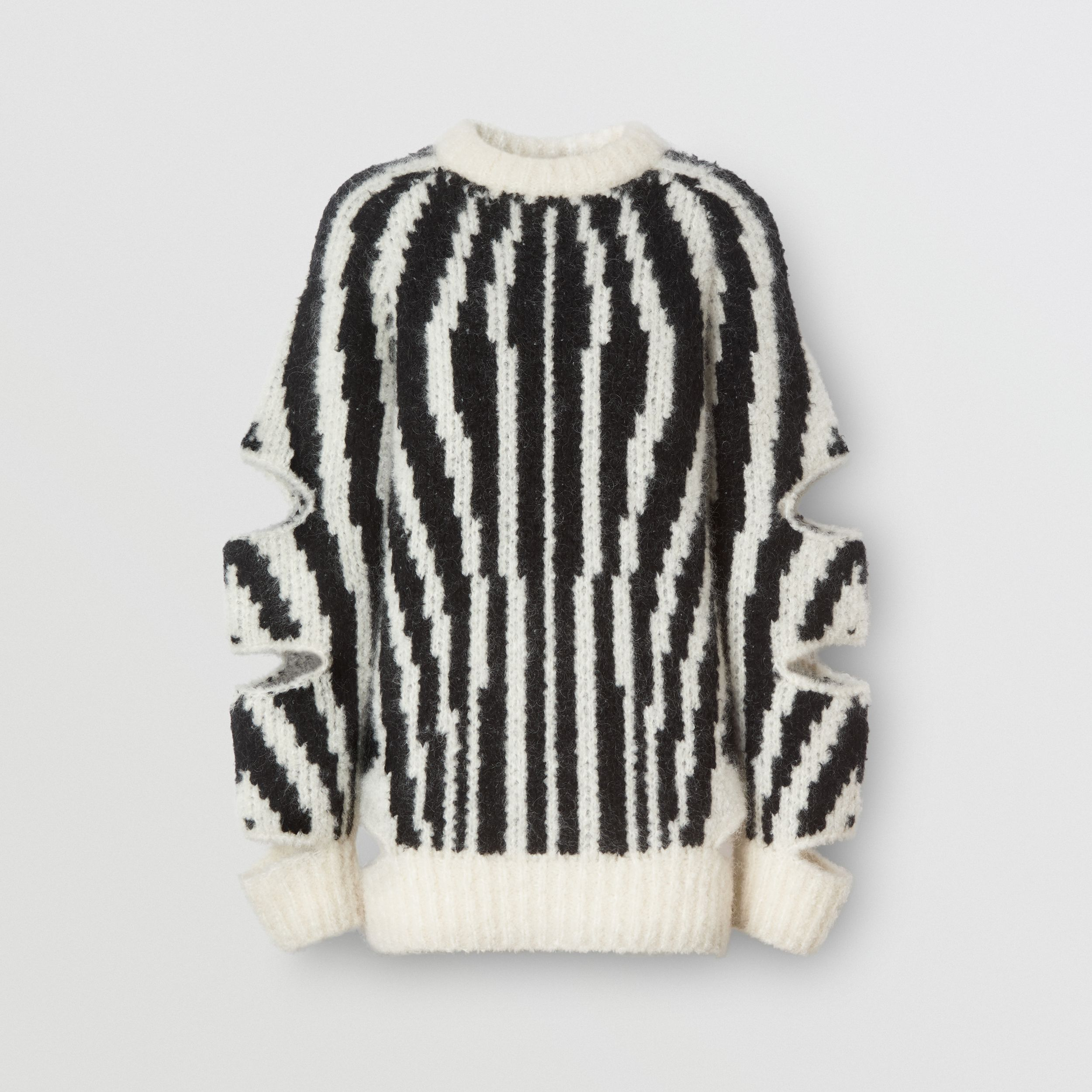 Cut-out Sleeve Wool Mohair Blend Jacquard Sweater | Burberry - 2