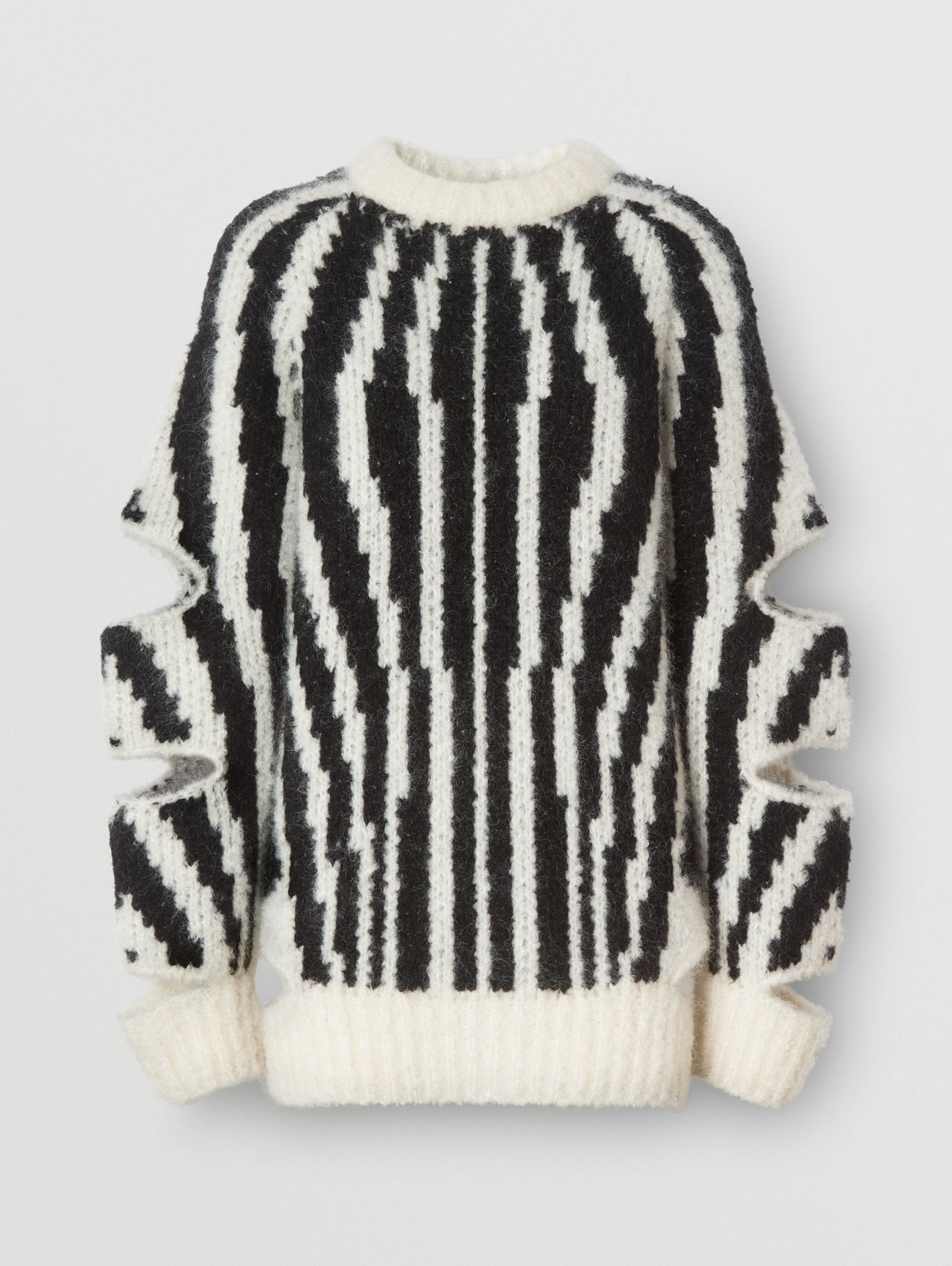 Cut-out Sleeve Wool Mohair Blend Jacquard Sweater