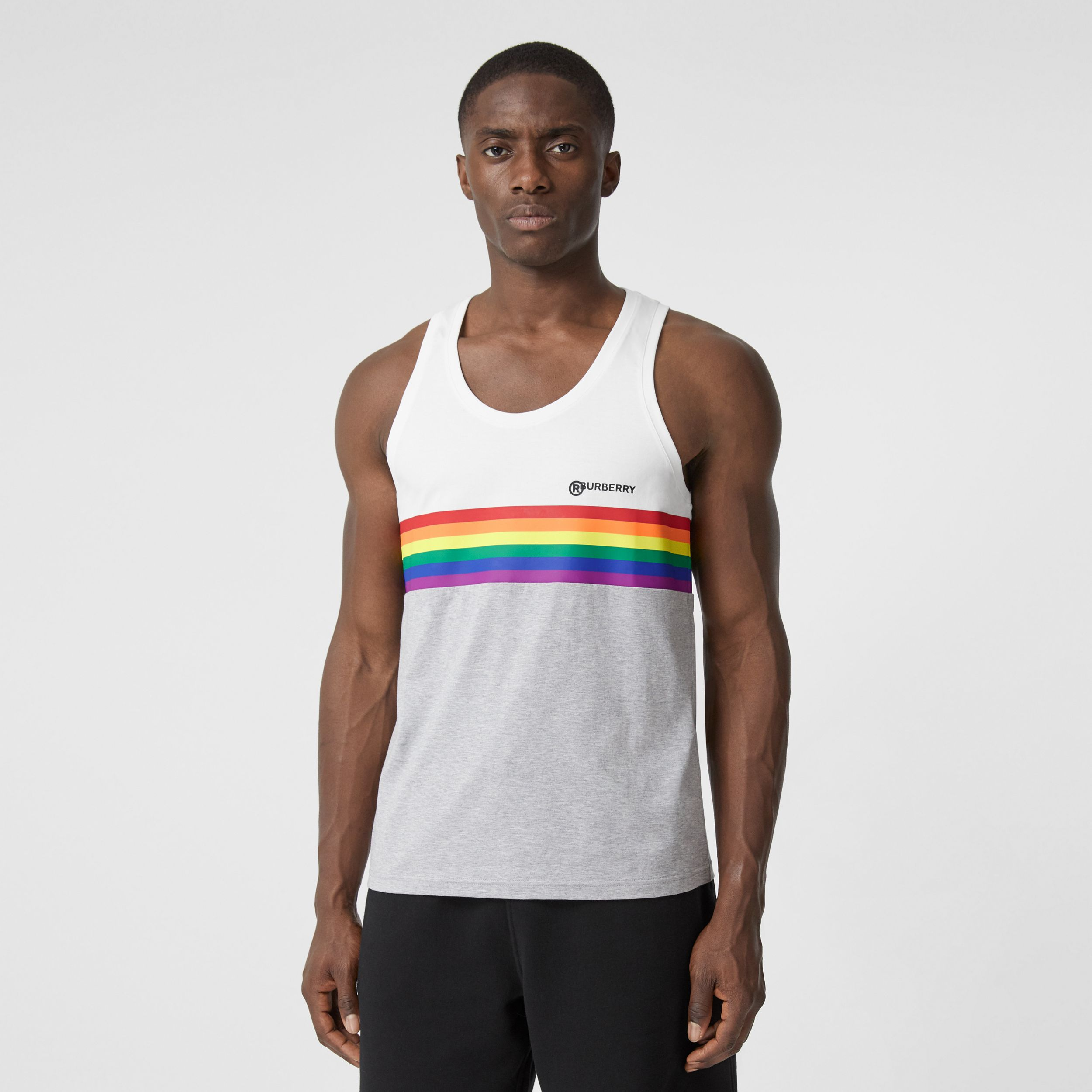Rainbow Stripe Print Cotton Vest – Unisex in White | Burberry - 4