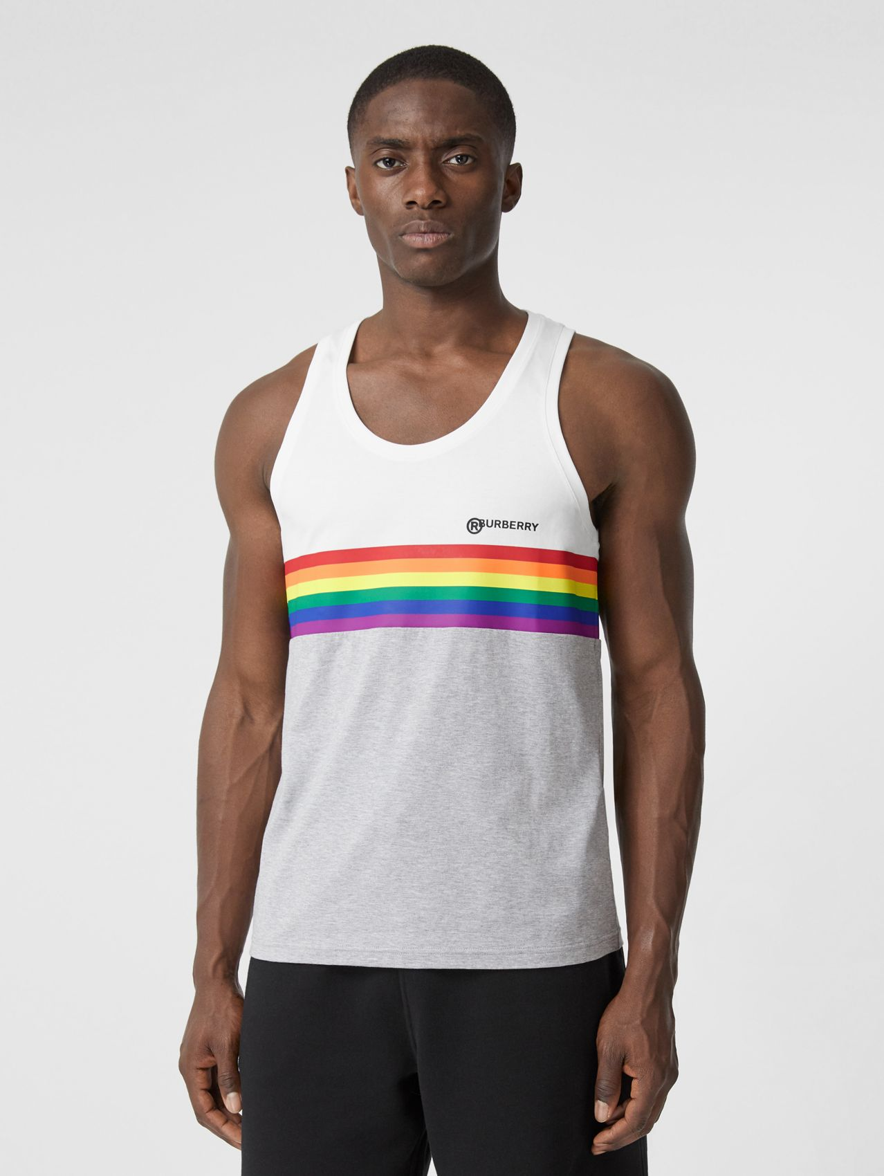 Rainbow Stripe Print Cotton Vest – Unisex (White)