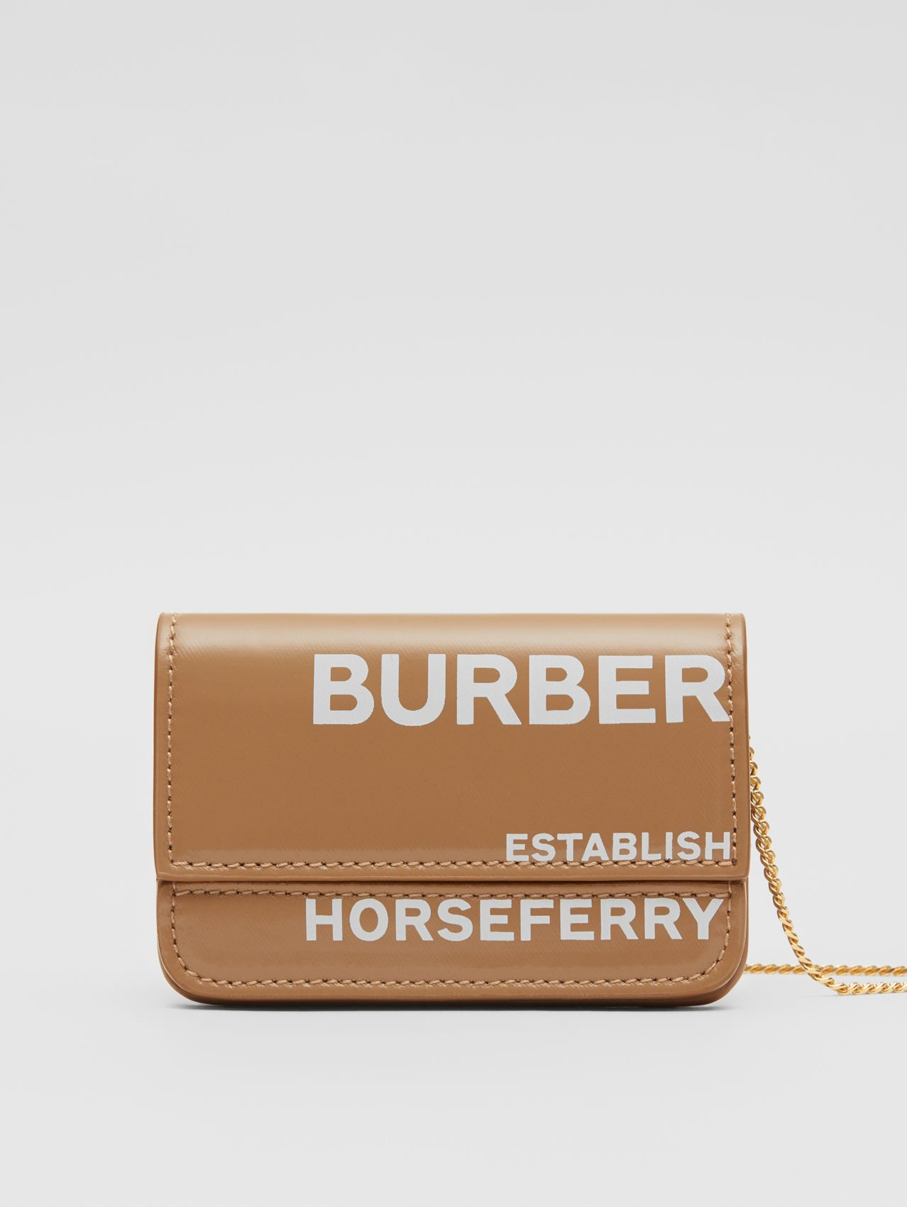 Horseferry Print Card Case with Chain Strap in Camel/white