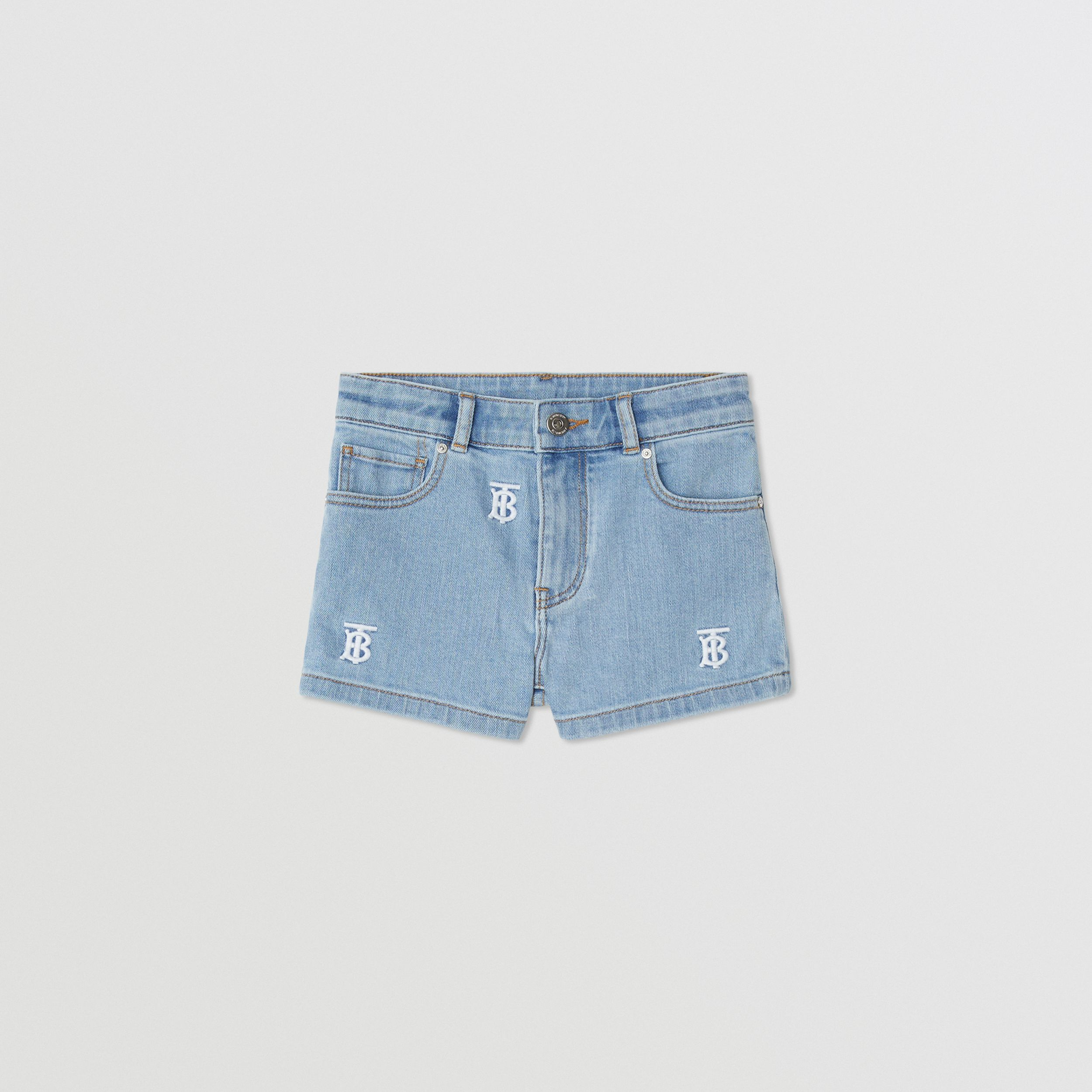 Monogram Motif Stretch Denim Shorts in Pale Blue | Burberry - 1