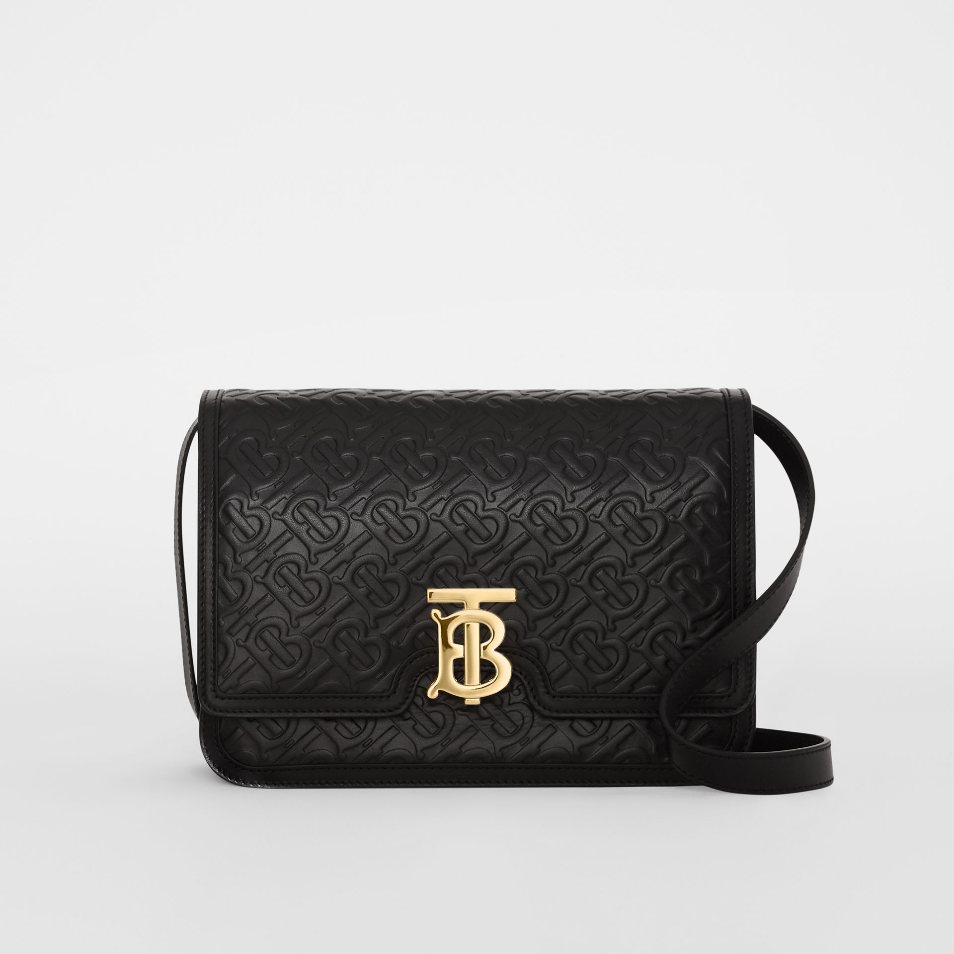 Medium Monogram Leather TB Bag in Black - Women | Burberry United Kingdom - gallery image 0