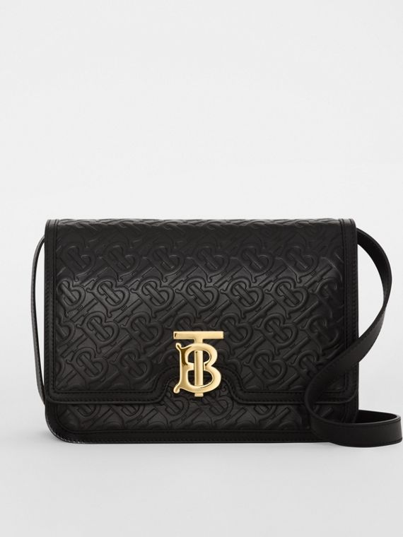 582ca10d6c314 Medium Monogram Leather TB Bag in Black