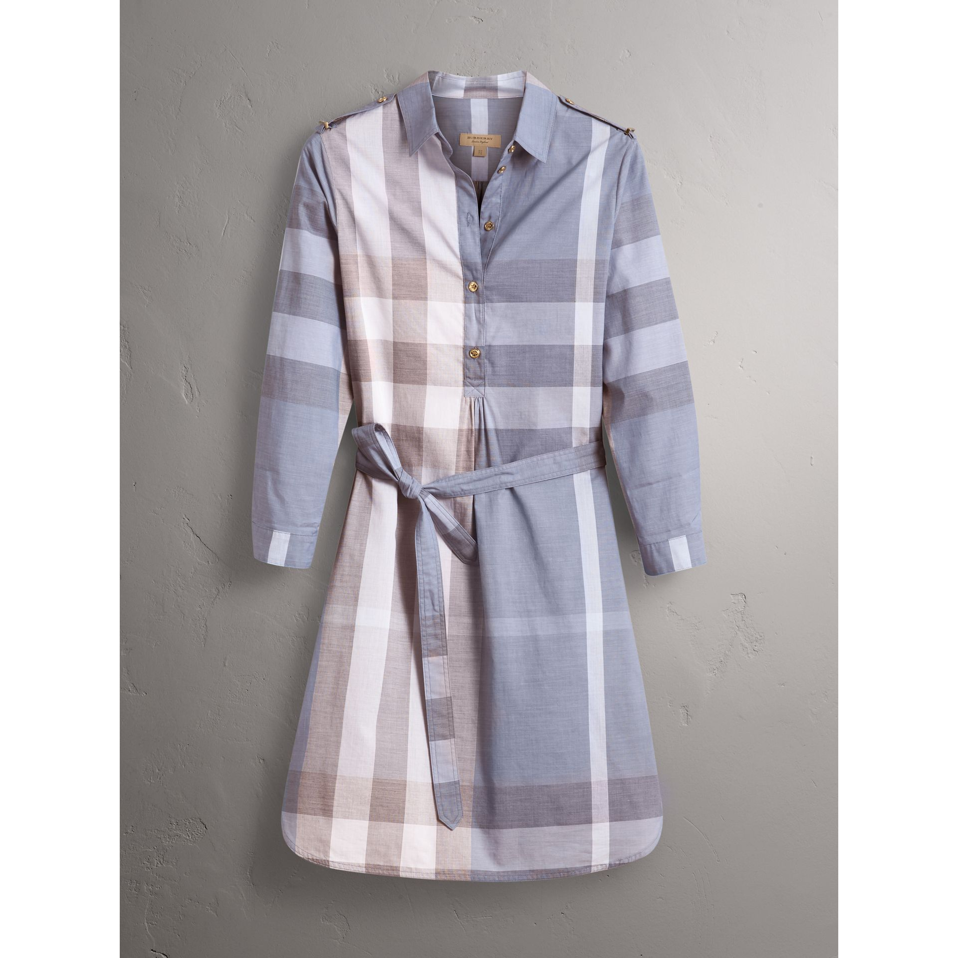 Tie-waist Check Cotton Shirt Dress in Canvas Blue - Women | Burberry - gallery image 3