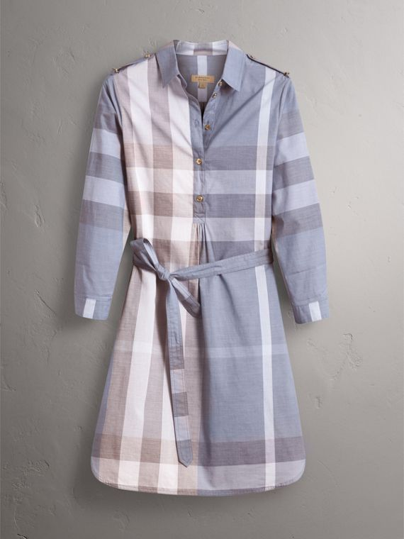 Tie-waist Check Cotton Shirt Dress in Canvas Blue - Women | Burberry United States - cell image 3