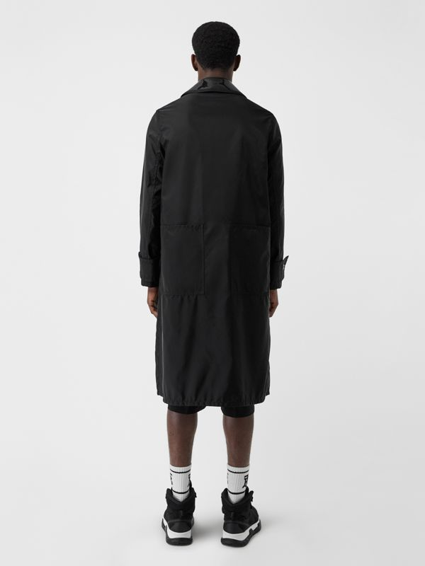 Double Collar Nylon Car Coat in Black | Burberry - cell image 2