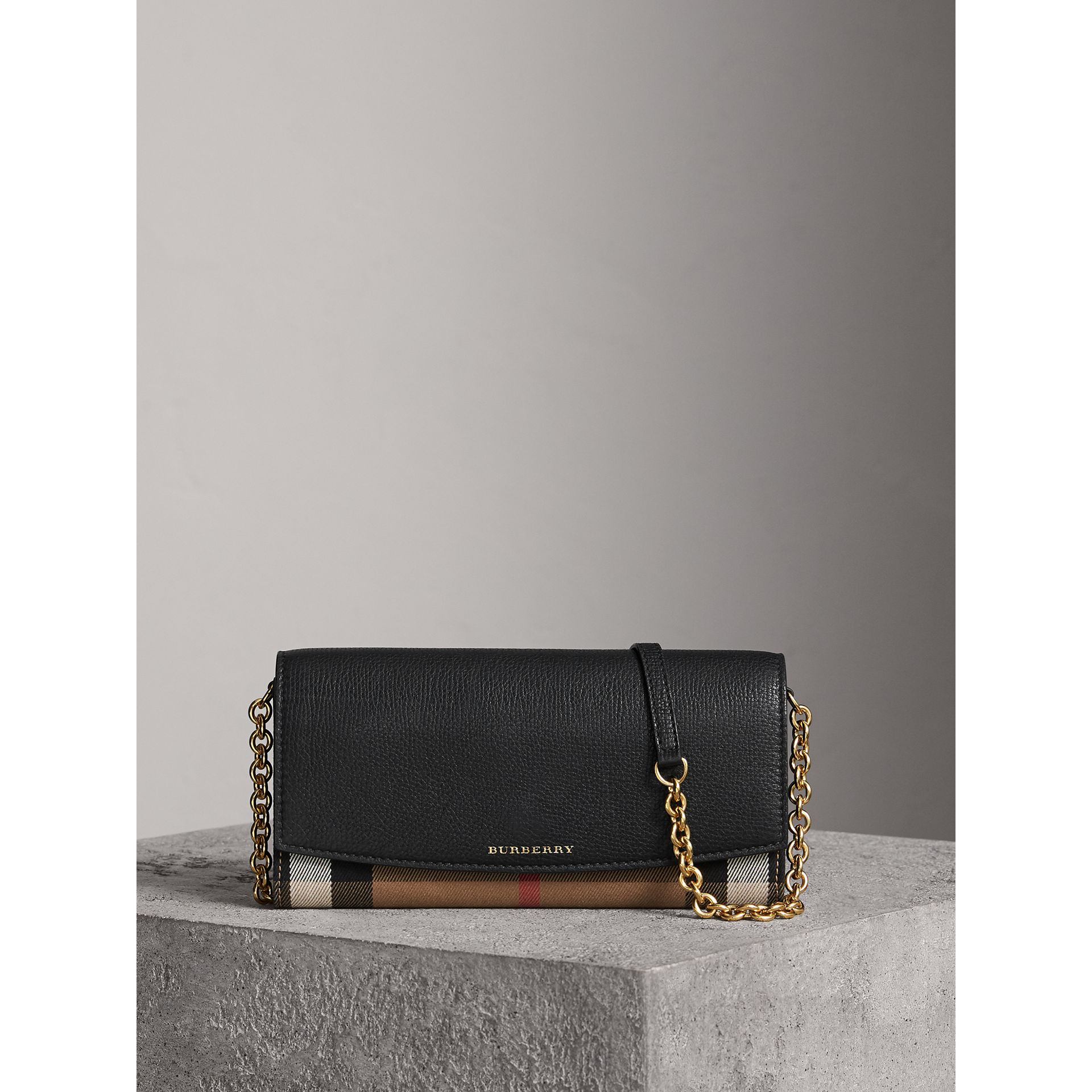 House Check and Leather Wallet with Chain in Black - Women | Burberry - gallery image 6