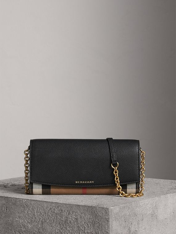 House Check and Leather Wallet with Chain in Black