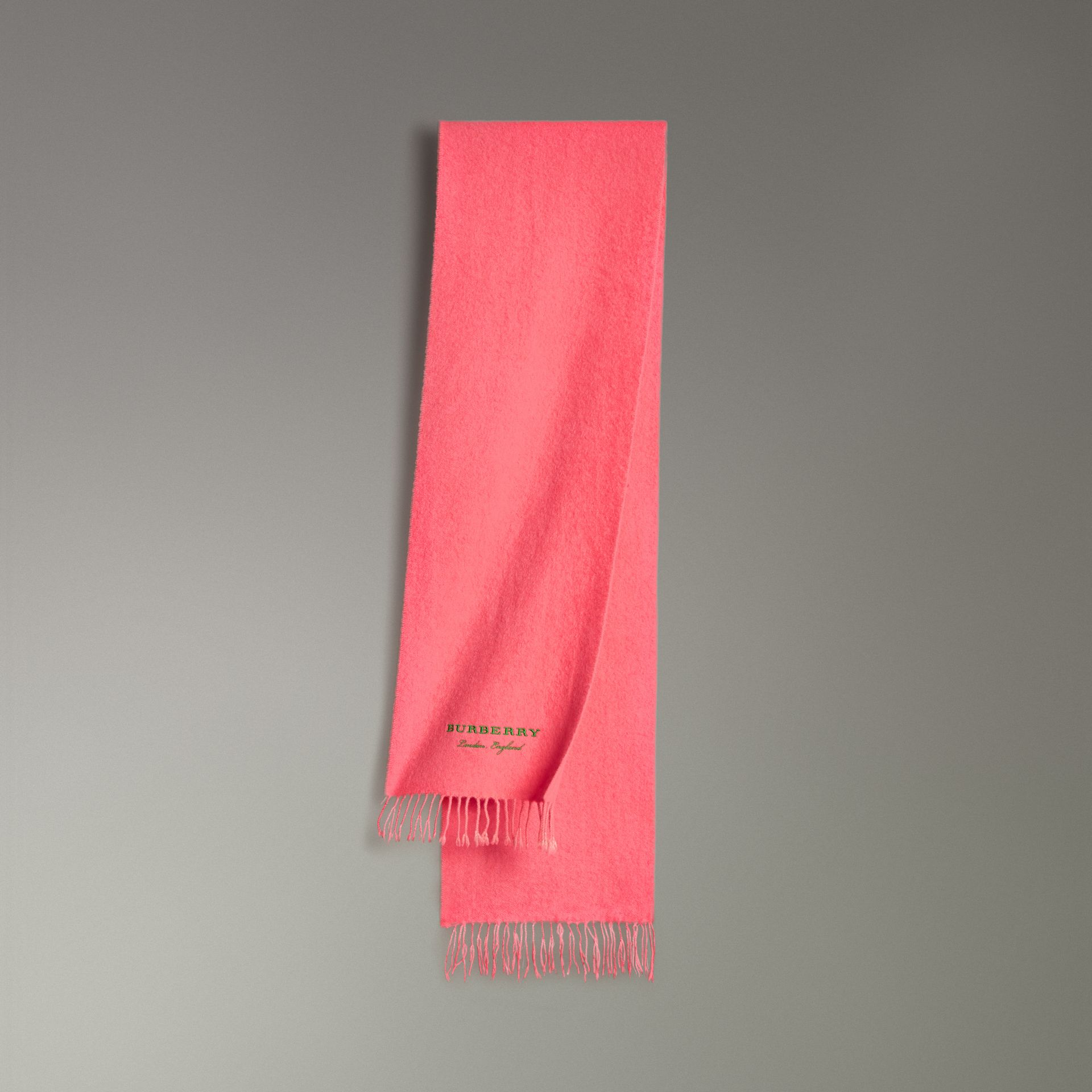 Embroidered Cashmere Fleece Scarf in Coral | Burberry - gallery image 0