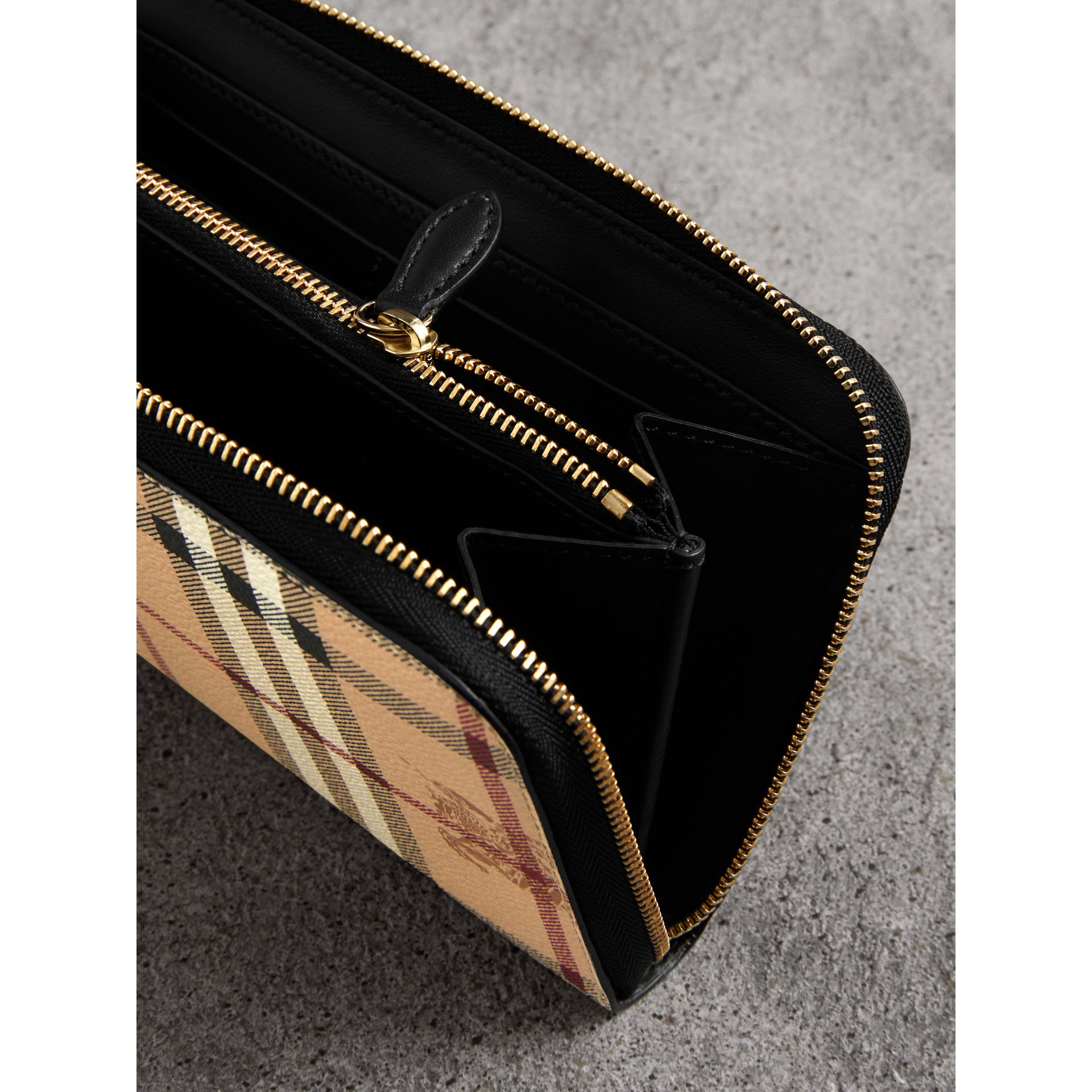 Haymarket Check and Leather Ziparound Wallet in Black - Women | Burberry Australia - gallery image 4