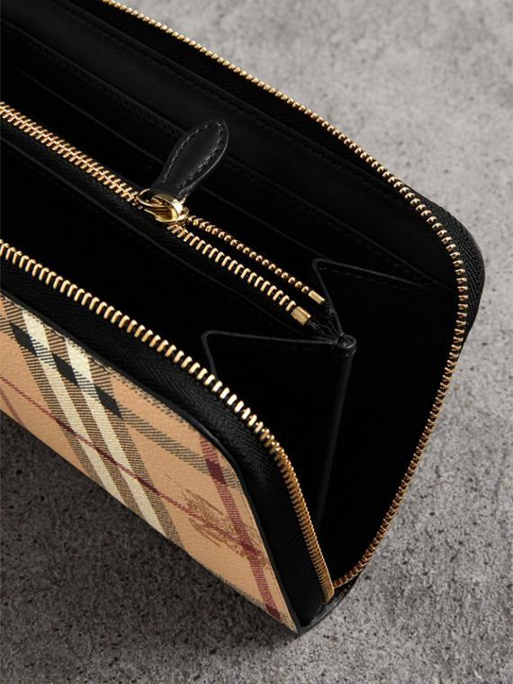 Haymarket Check and Leather Ziparound Wallet in Black - Women | Burberry - cell image 3