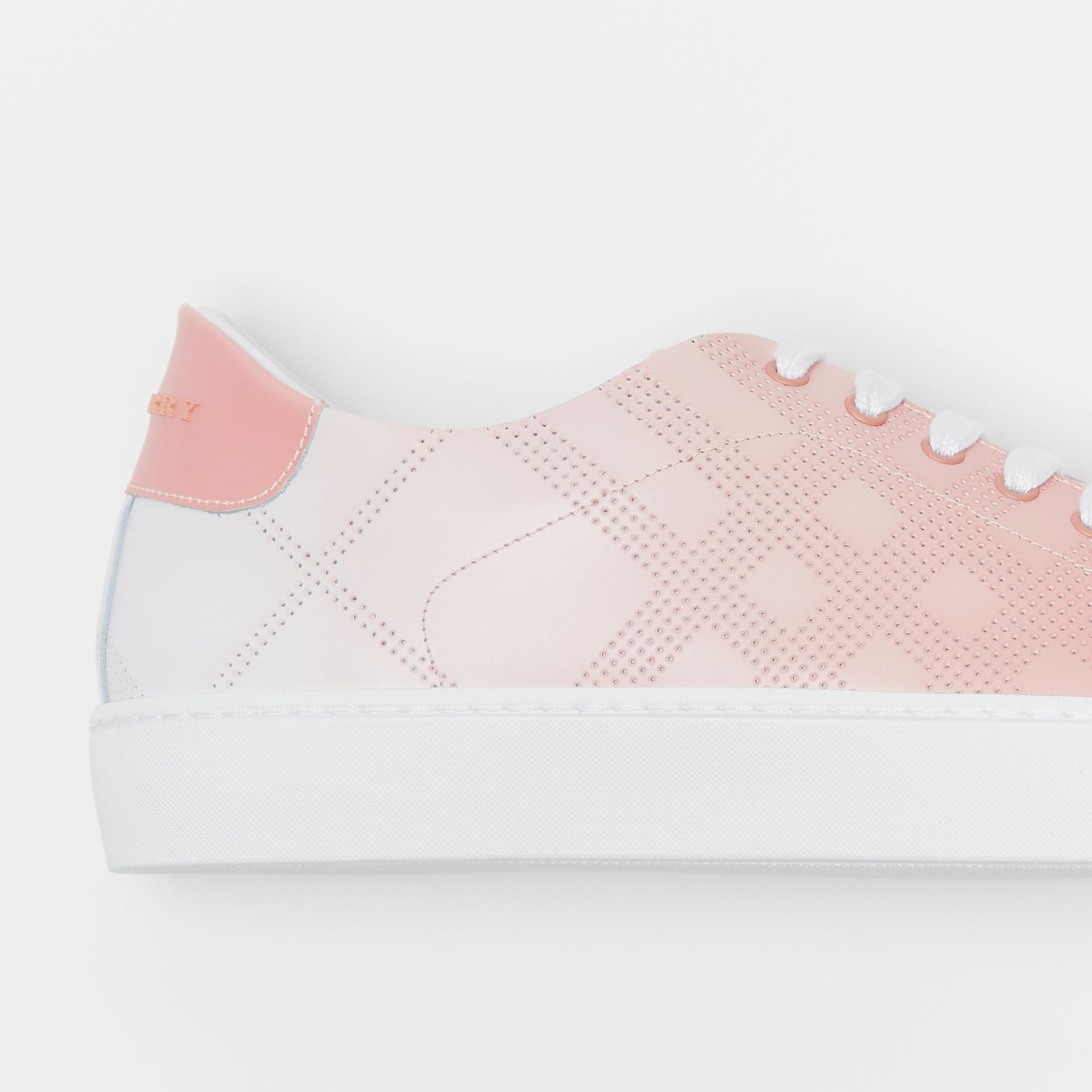 Perforated Check Dégradé Leather Sneakers in Sugar Pink - Women | Burberry Canada - gallery image 1