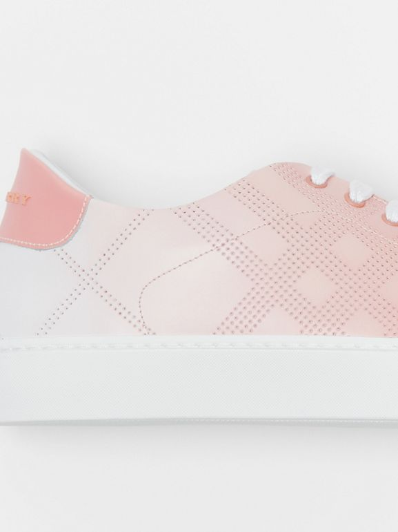 Perforated Check Dégradé Leather Sneakers in Sugar Pink - Women | Burberry - cell image 1