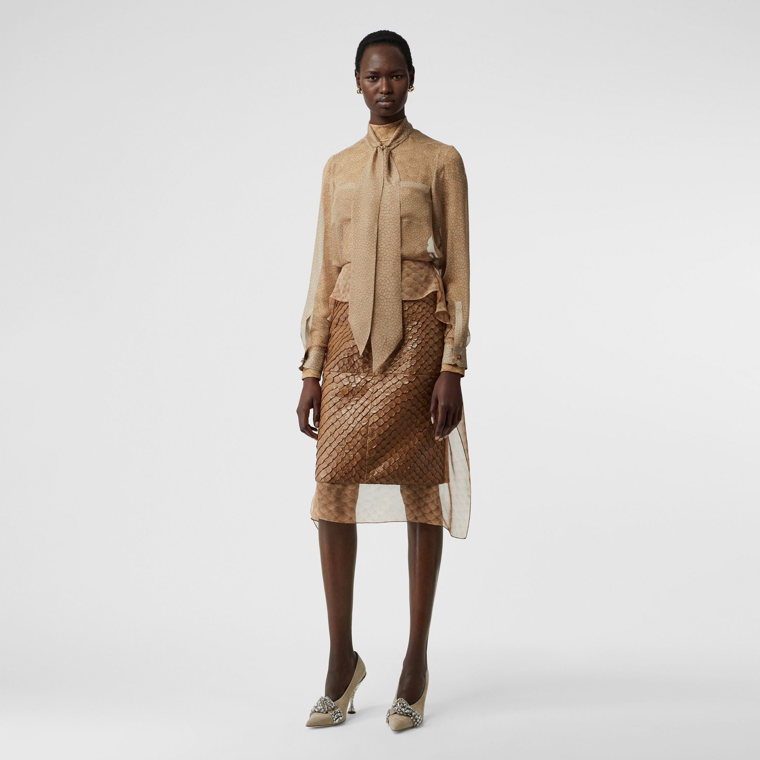 Fish-scale Print Silk Oversized Pussy-bow Blouse in Light Sand - Women | Burberry - 1