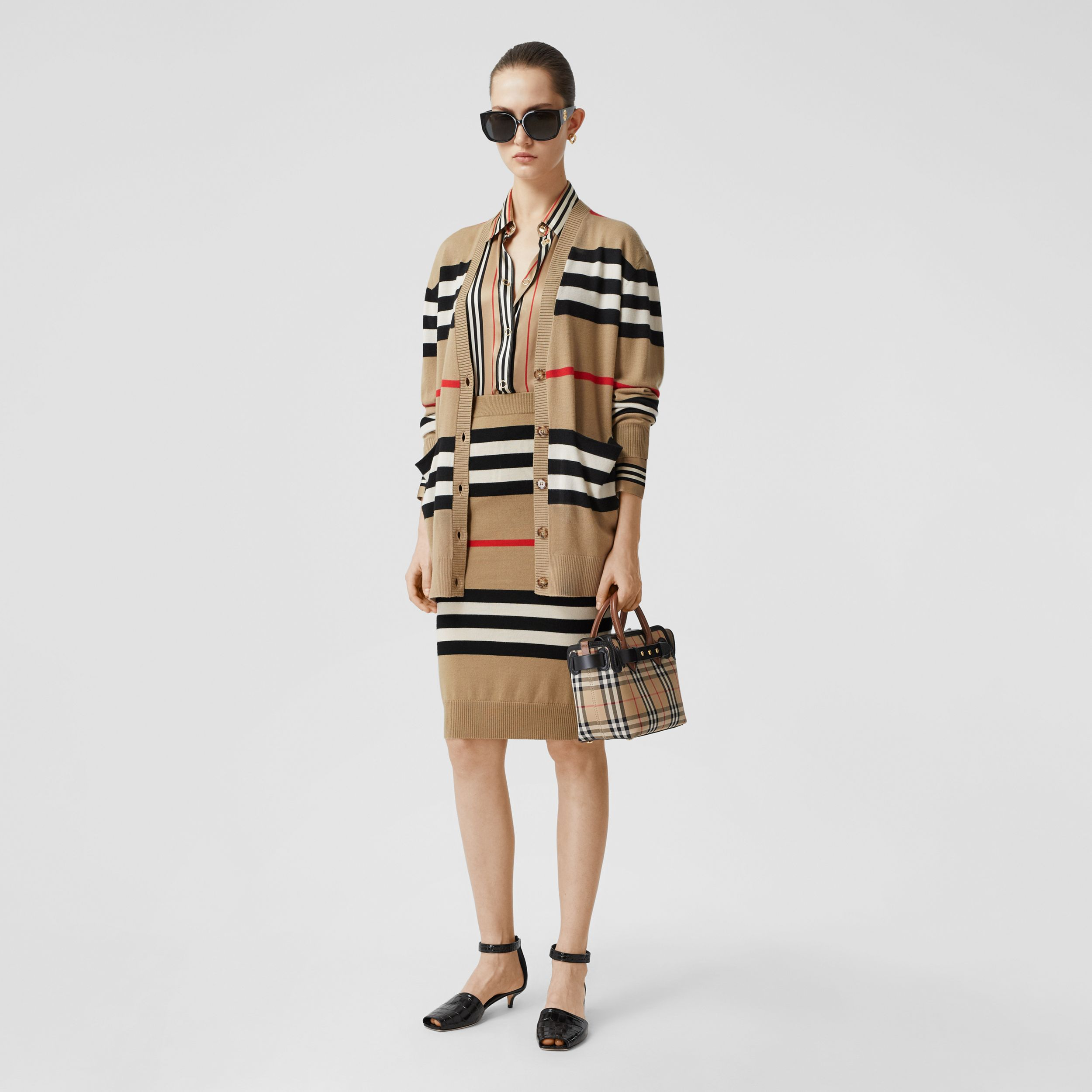 Icon Stripe Merino Wool Cardigan in Archive Beige - Women | Burberry - 1