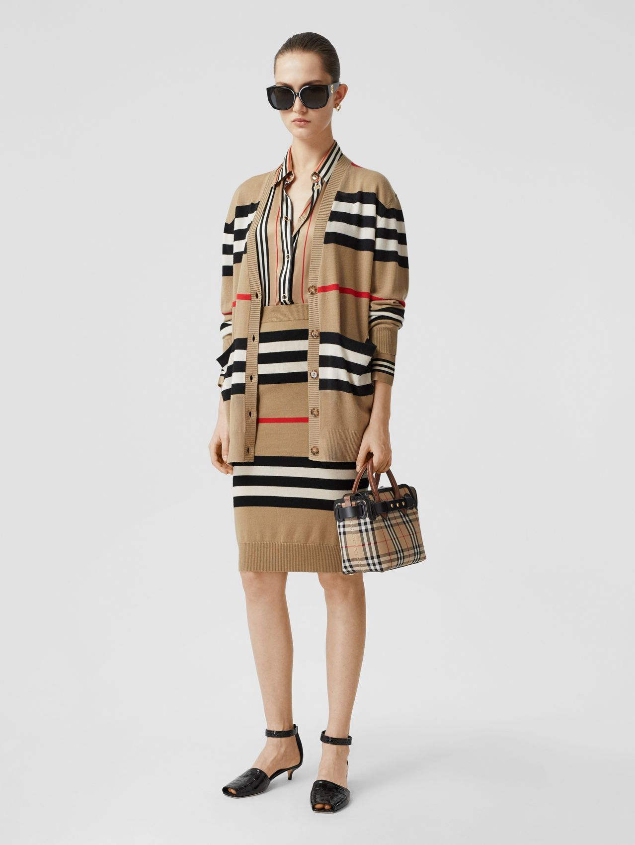 Icon Stripe Merino Wool Cardigan (Archive Beige)