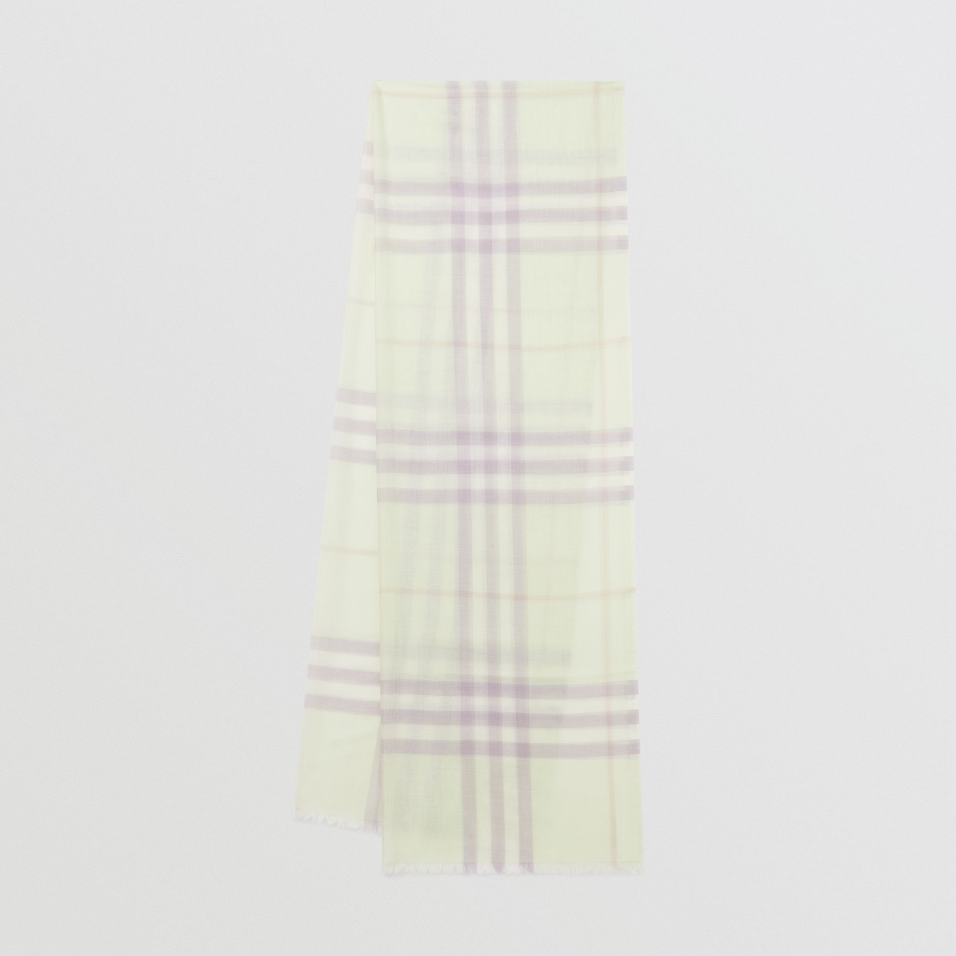 Lightweight Check Wool and Silk Scarf in Limestone | Burberry - gallery image 0