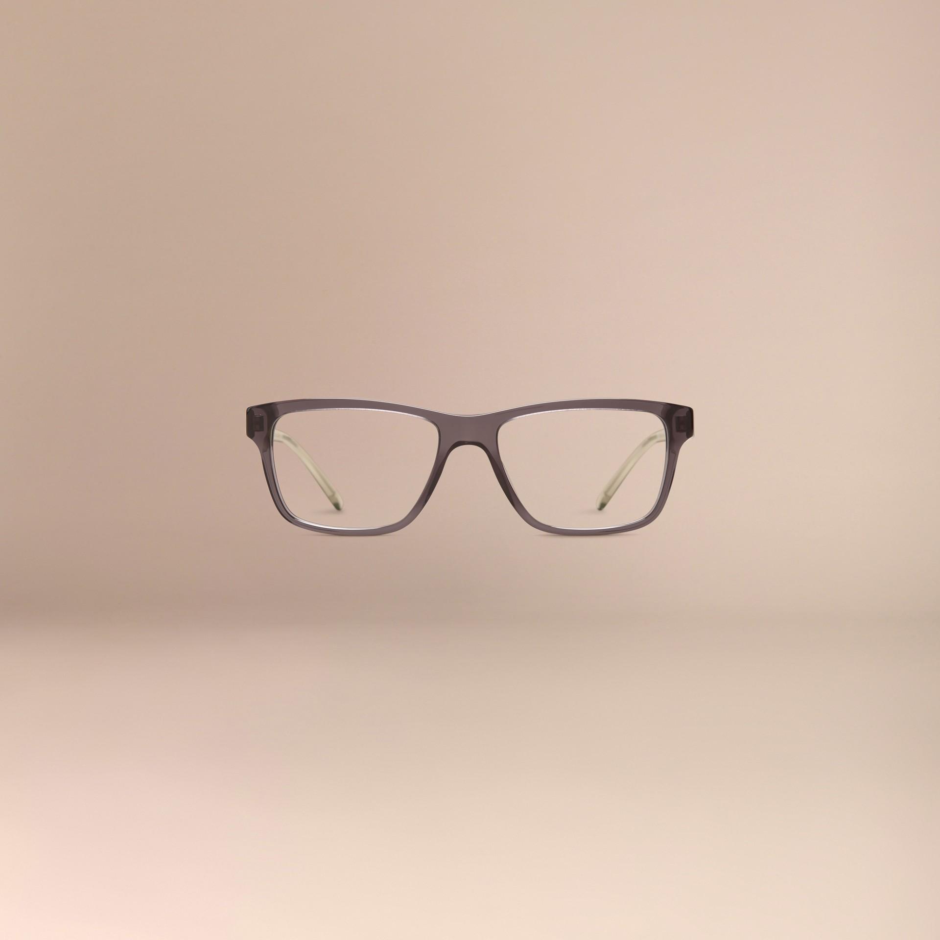 Grigio scuro Montatura da vista rettangolare con dettaglio check Grigio Scuro - immagine della galleria 3