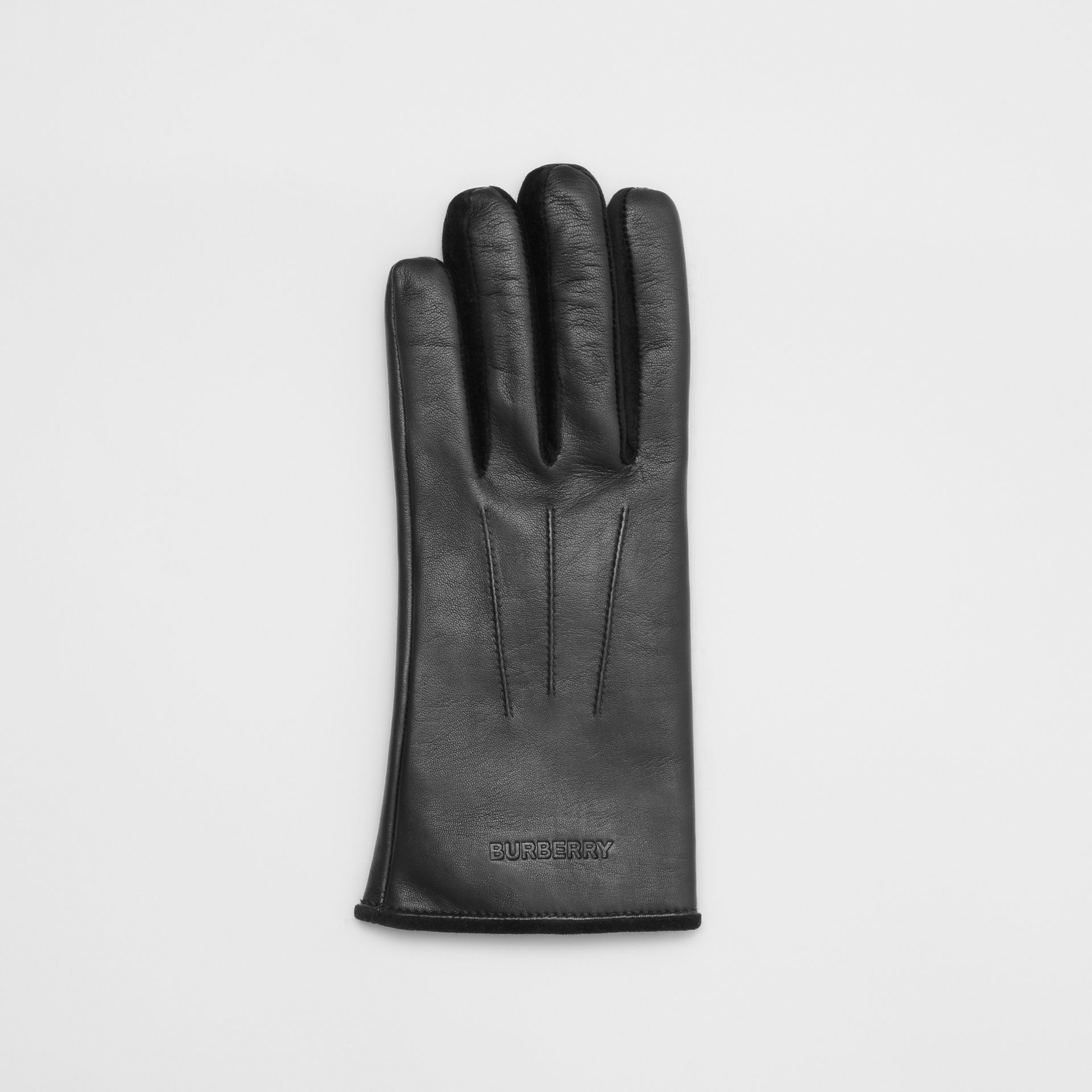 Embossed Logo Cashmere-lined Lambskin Gloves in Black/black - Men | Burberry United Kingdom - gallery image 2