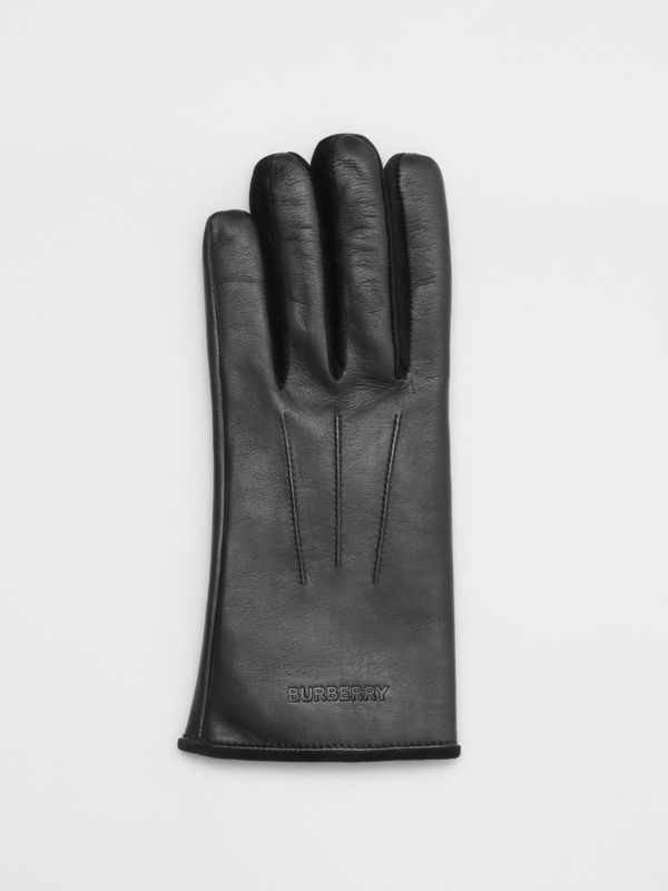 Embossed Logo Cashmere-lined Lambskin Gloves in Black/black - Men | Burberry United Kingdom - cell image 2