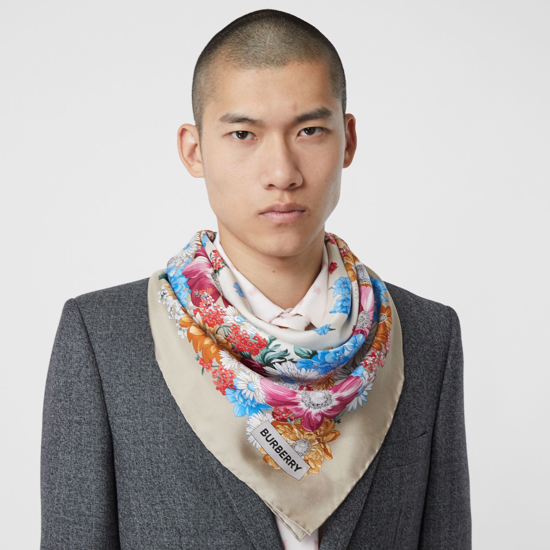 Archive Scarf Print Silk Square Scarf in Multicolour | Burberry Singapore - gallery image 3