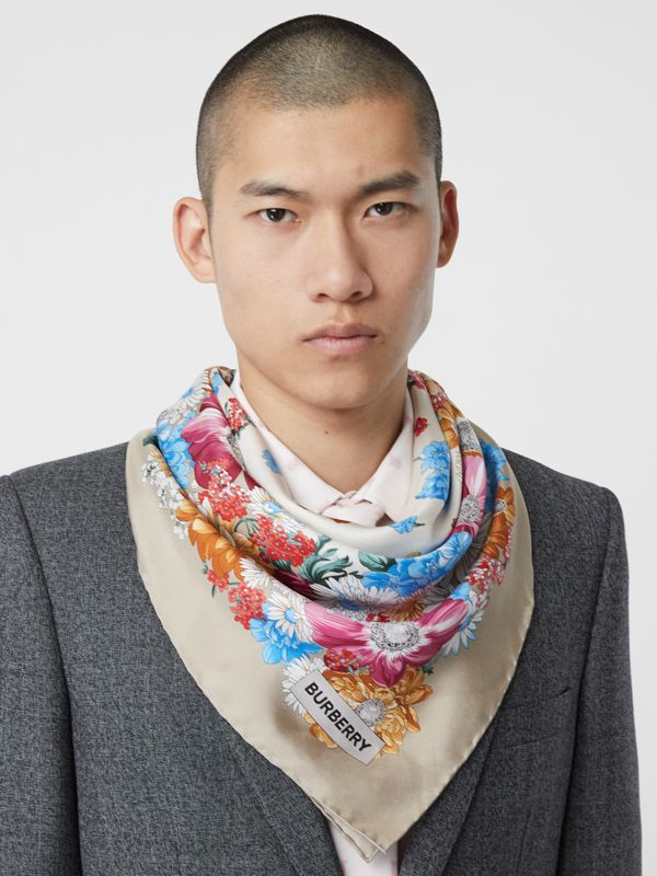 Archive Scarf Print Silk Square Scarf in Multicolour | Burberry Canada - cell image 3