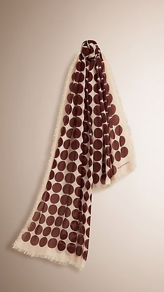Cachecol de algodão e cashmere com estampa de poás