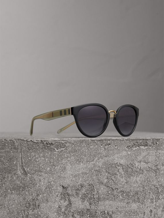 Check Detail Cat-eye Frame Sunglasses in Black - Women | Burberry Singapore