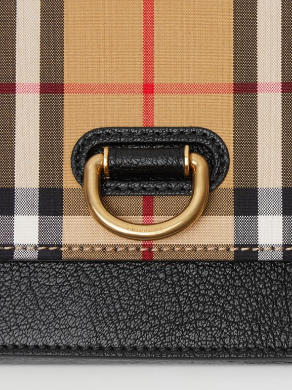 Borsa The D-ring mini in pelle con motivo Vintage check (Nero) - Donna | Burberry - cell image 1