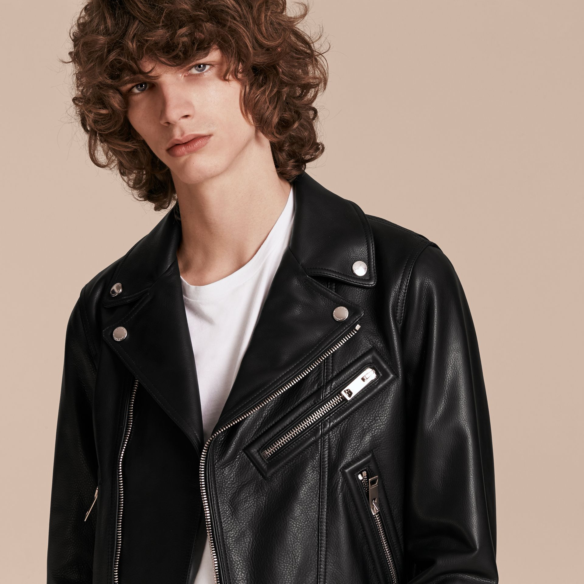 Black Clean-lined Leather Biker Jacket - gallery image 5