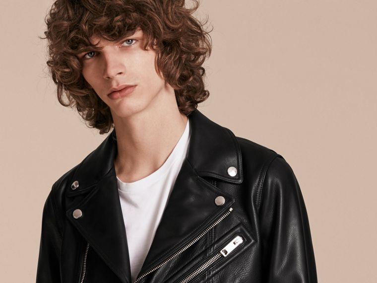 Clean-lined Leather Biker Jacket - cell image 4