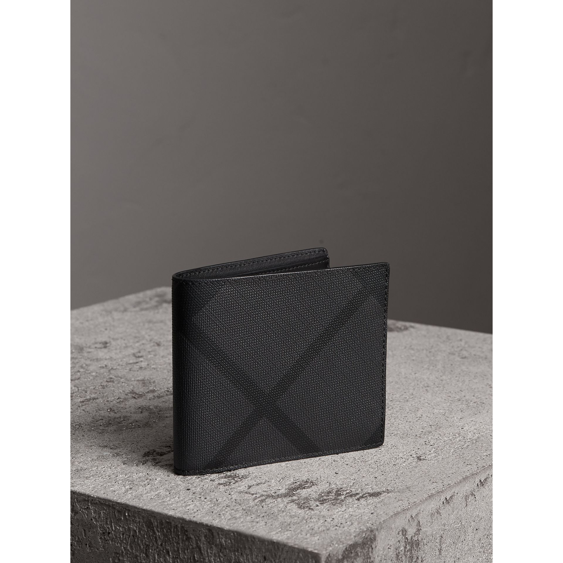 London Check ID Wallet in Charcoal/black - Men | Burberry Australia - gallery image 0
