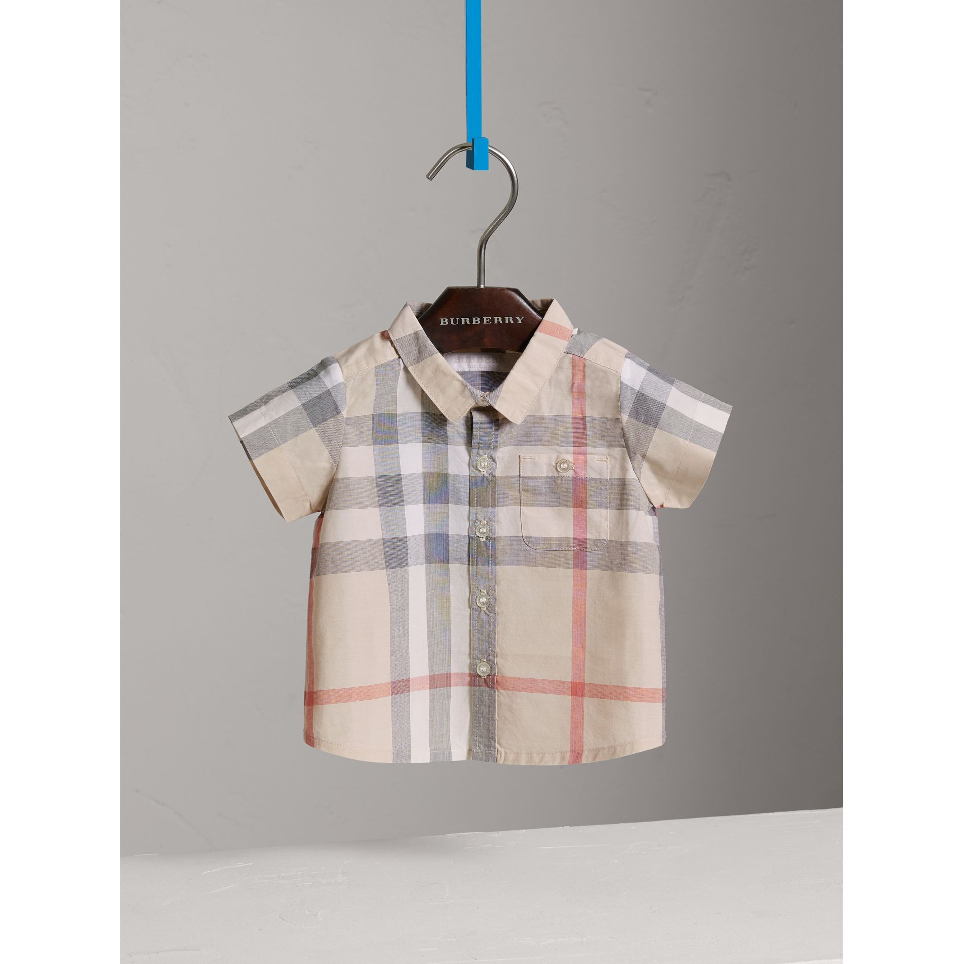 Washed Check Cotton Short Sleeve Shirt in Pale Classic - Boy | Burberry - gallery image 0