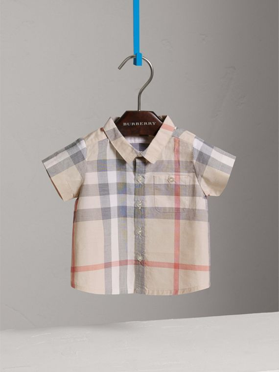 Washed Check Cotton Short Sleeve Shirt in Pale Classic