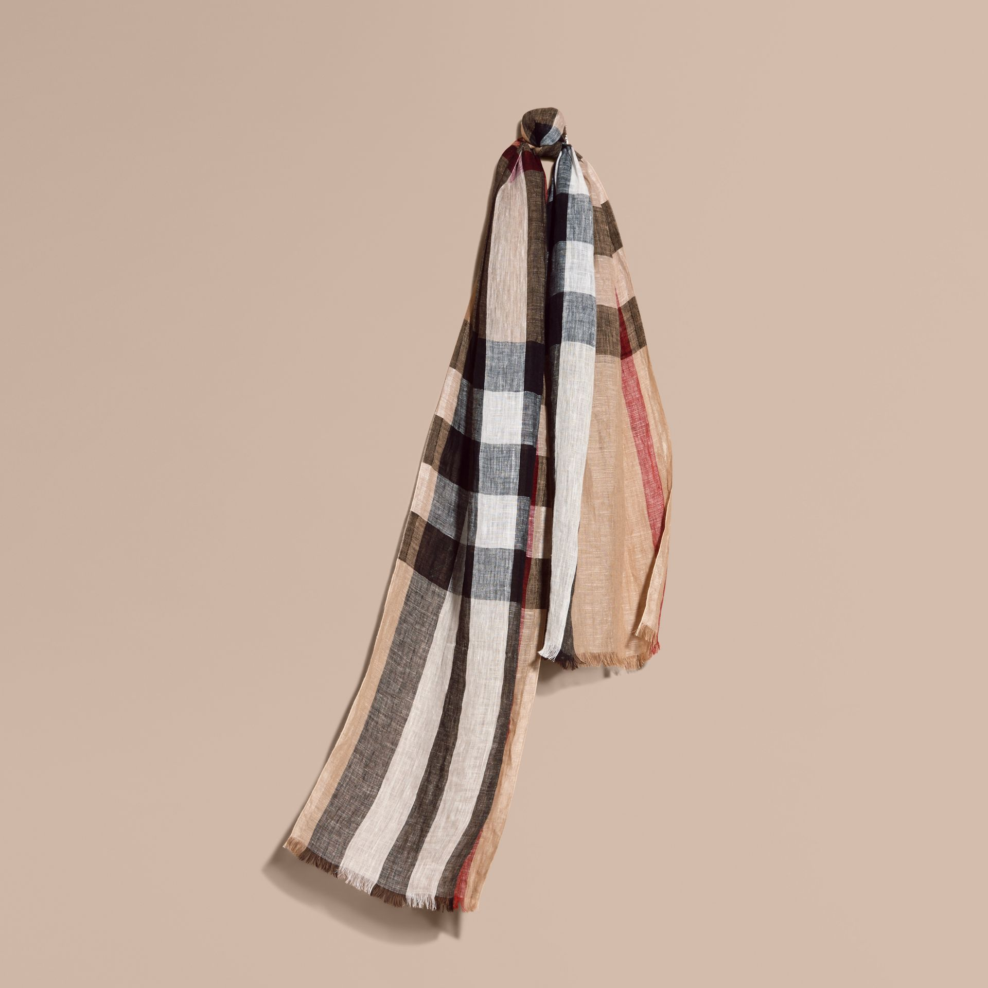 Lightweight Check Linen Scarf in Camel | Burberry - gallery image 1