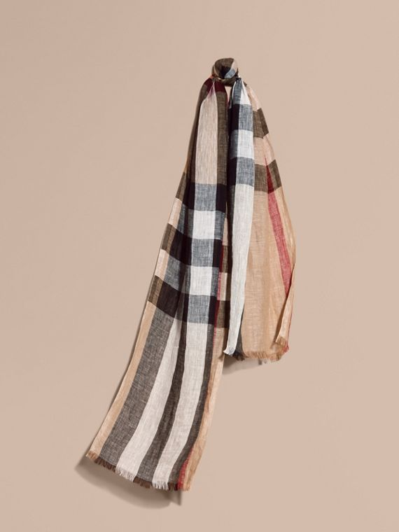 Lightweight Check Linen Scarf in Camel | Burberry