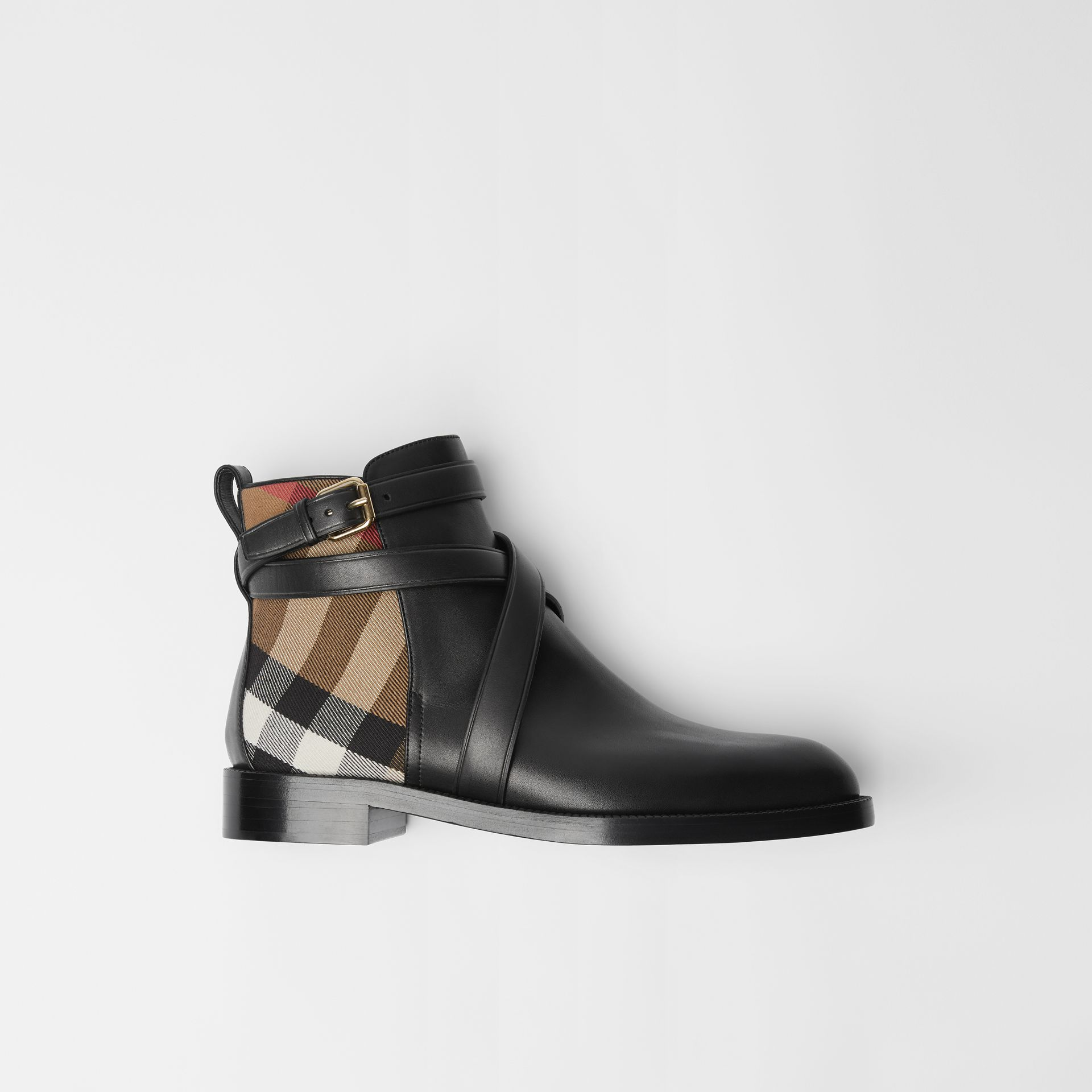 House Check and Leather Ankle Boots in Black - Women | Burberry Australia - gallery image 0