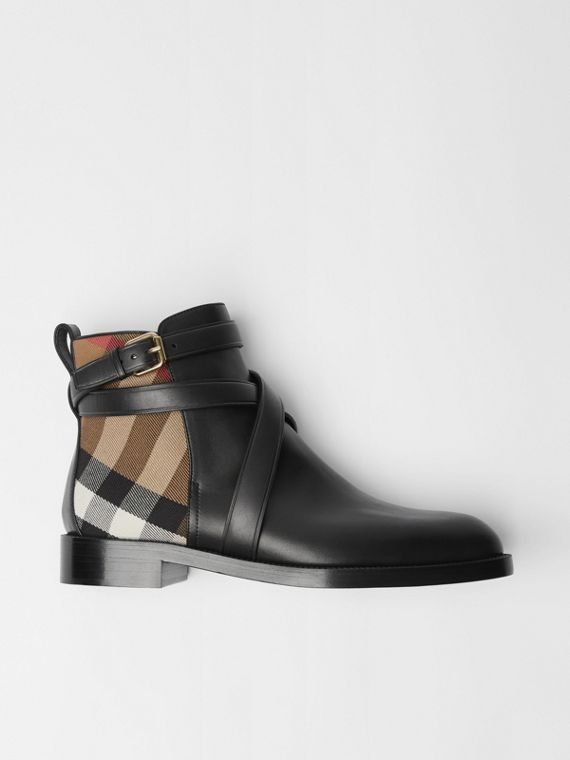 Bottines en cuir et coton House check (Noir)