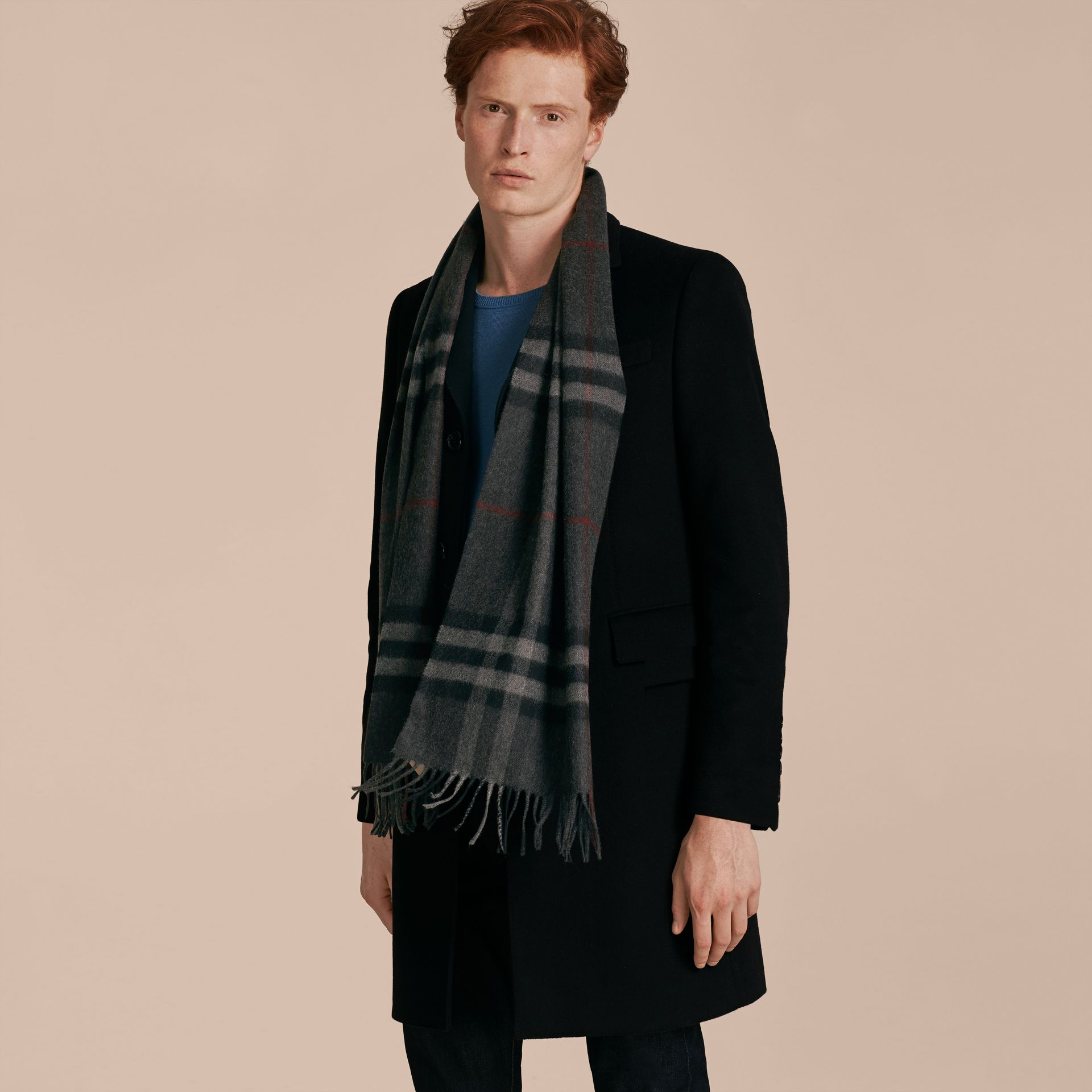 Charcoal check The Classic Cashmere Scarf in Check Charcoal - gallery image 3