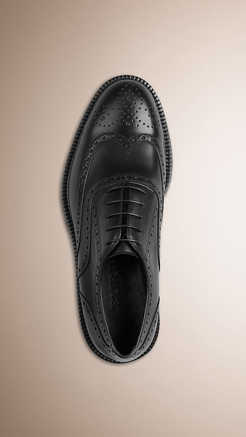 Black Leather Wingtip Brogues With Rubber Sole - Image 3