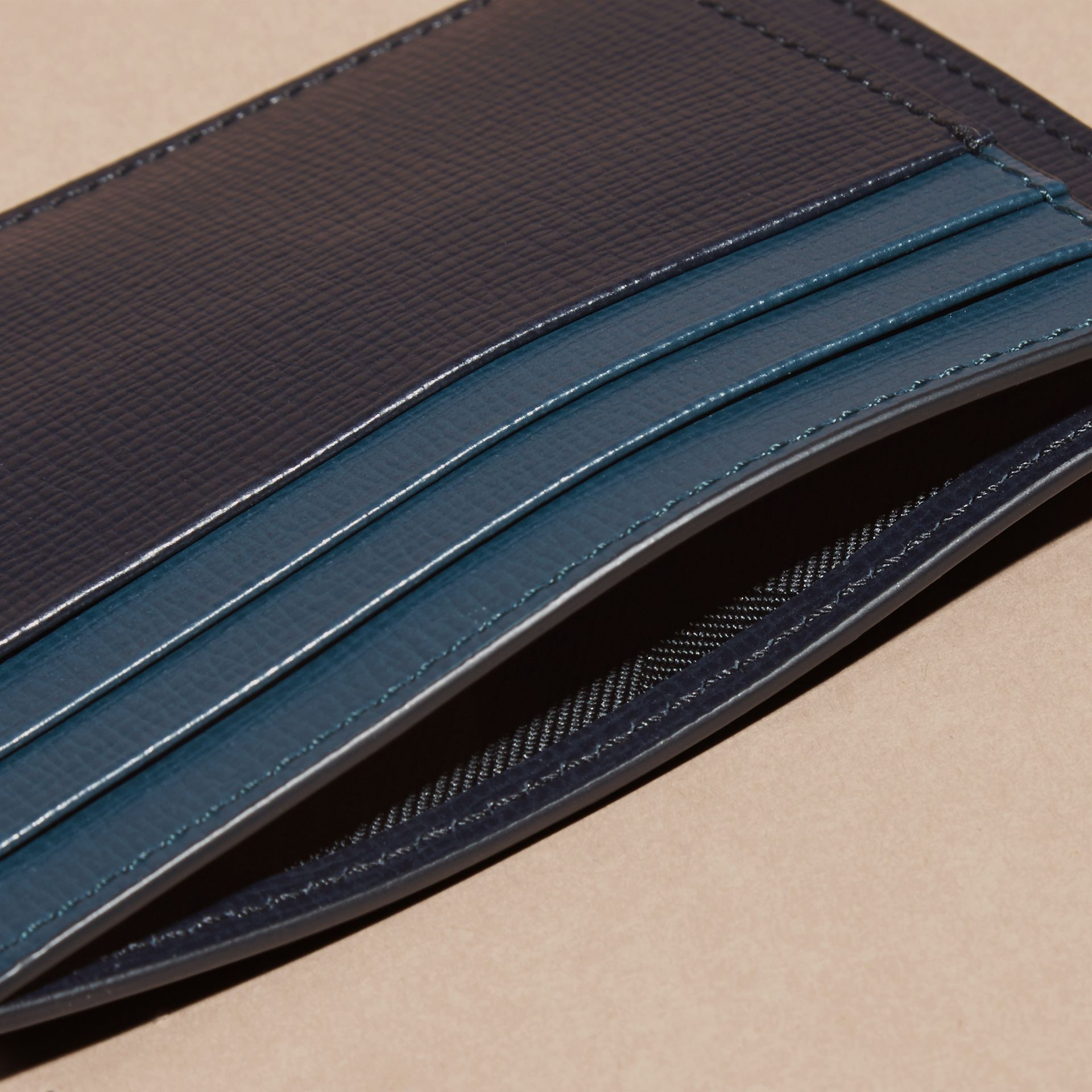 Dark navy/mineral blue Colour Block London Leather Card Case Dark Navy/mineral Blue - gallery image 5