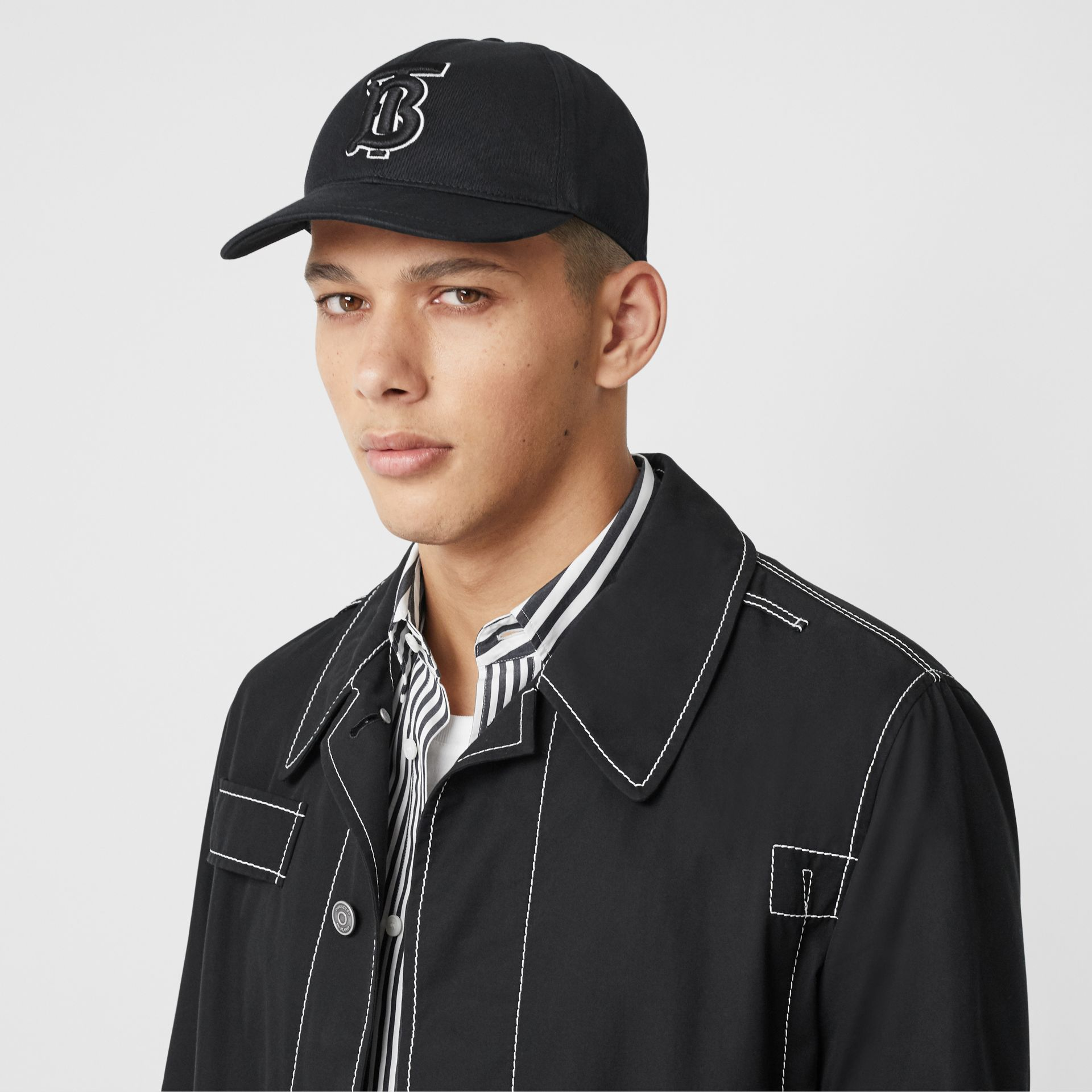 Monogram Motif Baseball Cap in Black / Black | Burberry - gallery image 3