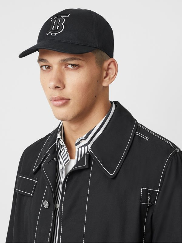 Monogram Motif Baseball Cap in Black / Black | Burberry - cell image 3