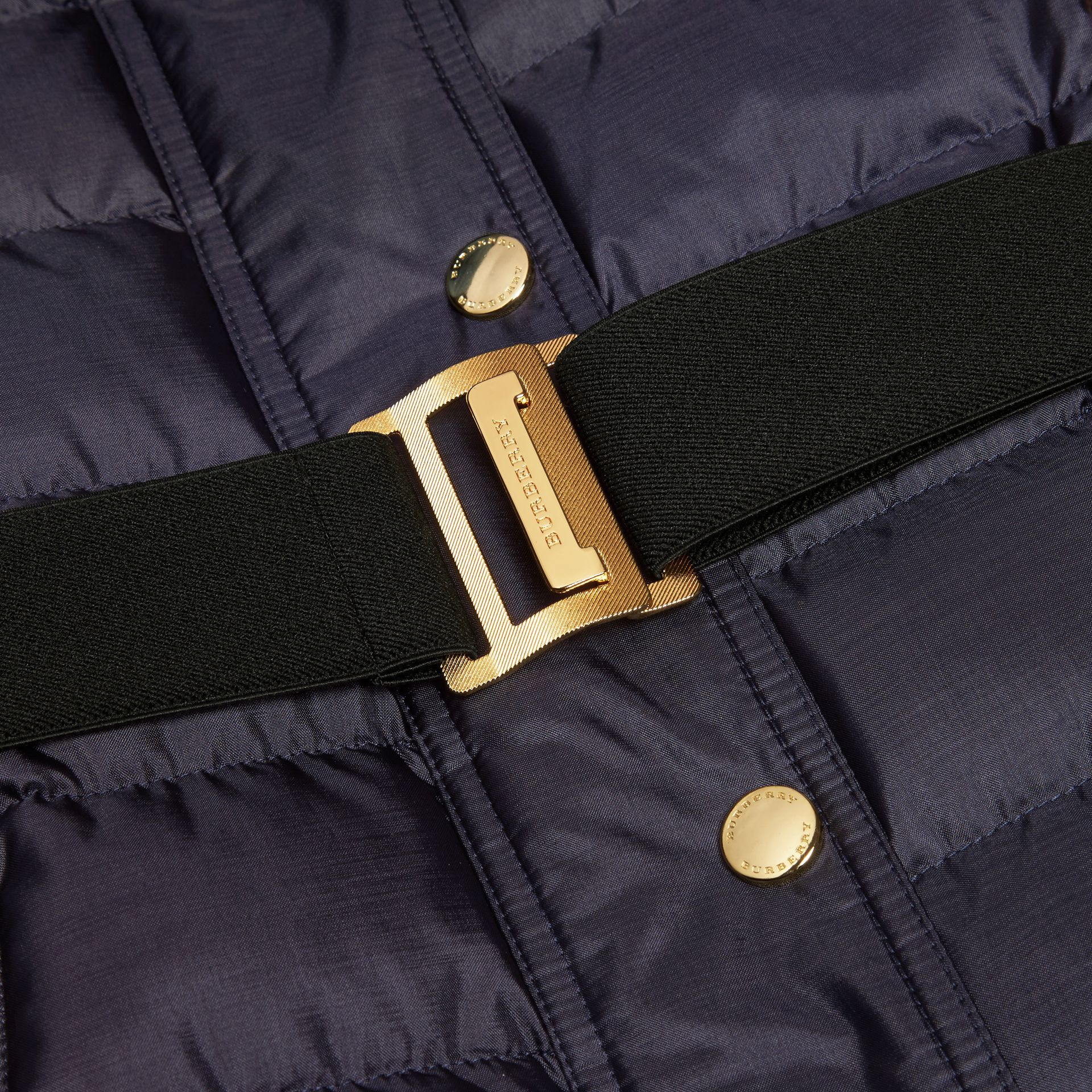 Navy Down-filled Coat with Fur-trimmed Hood Navy - gallery image 2